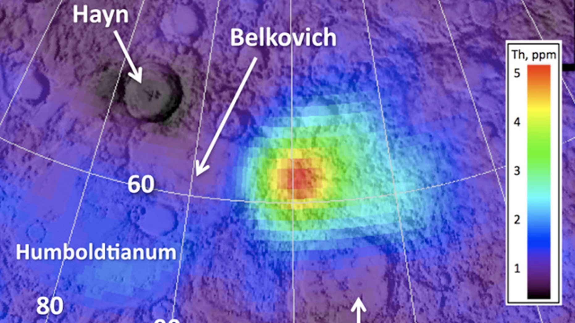 This image from NASA's Lunar Reconnaissance Orbiter shows a region on the far side of the moon between the Compton and Belkovich craters. The colored region marks a high amount of the mineral thorium, which is thought to have been deposited by rare silicate volcanoes in the past.