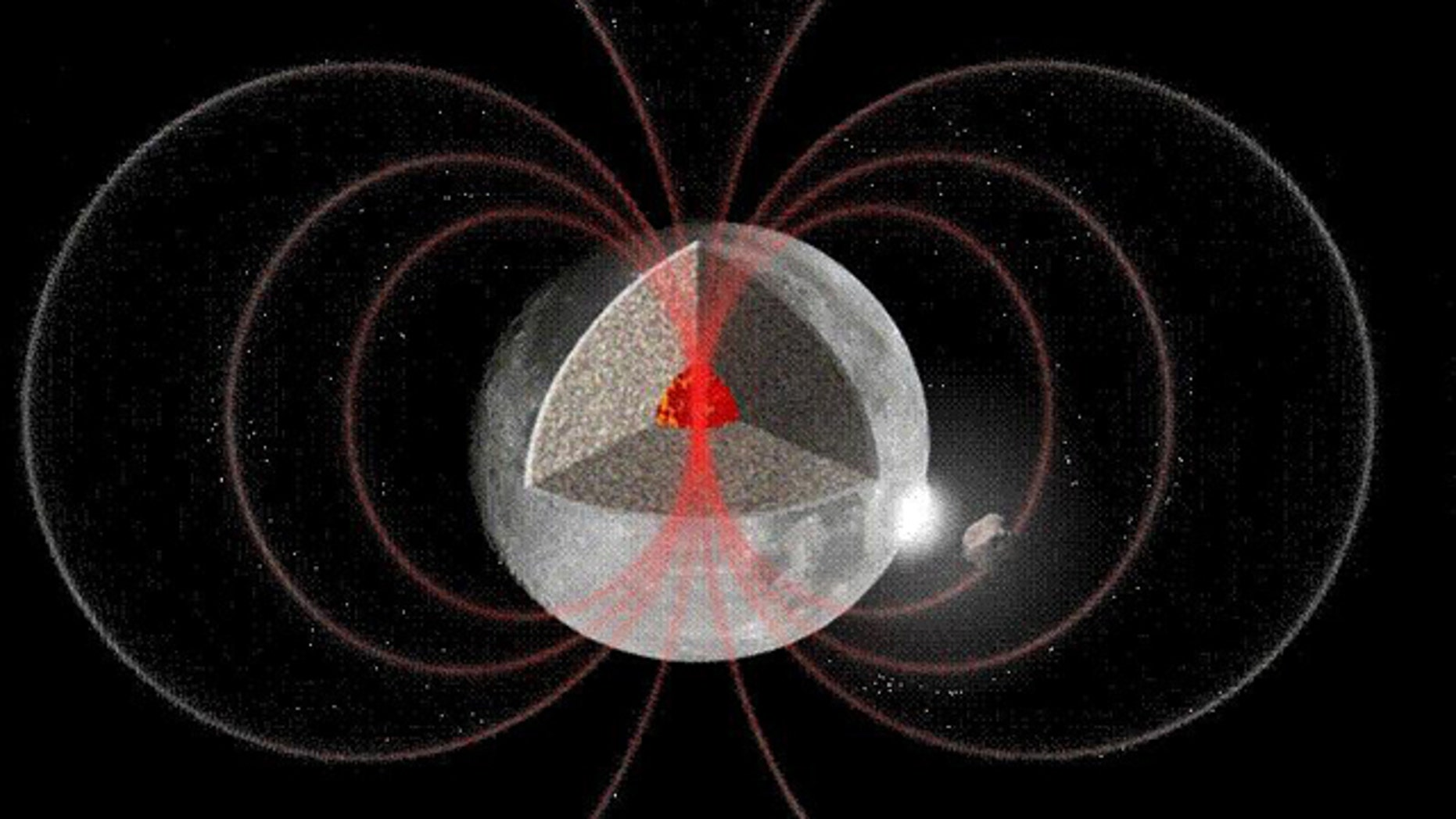 This illustration shows one suggested mechanism for creating an ancient magnetic field on the moon. In this scenario, impacting space rocks on the moon would create instability in the moon's core that could lead to a dynamo that creates a magnetic field.
