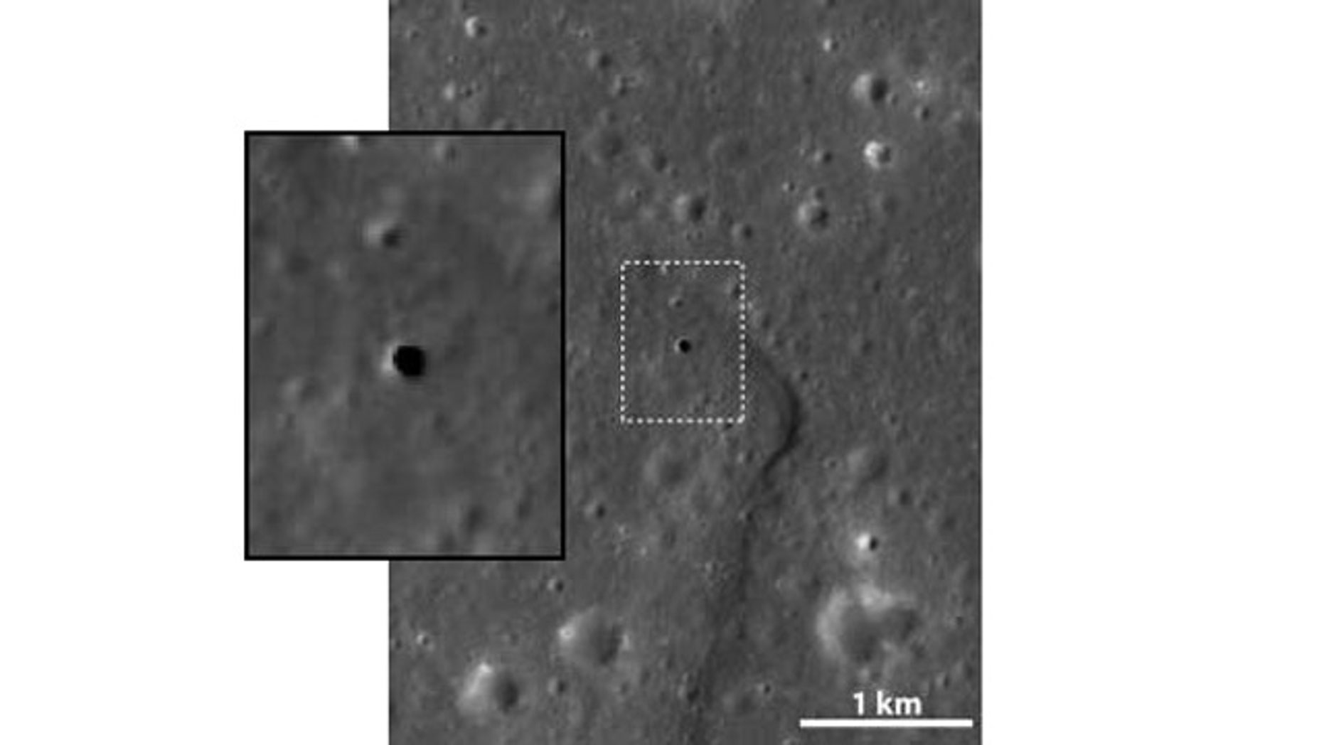 This apparent hole in the moon is like a skylight, a vertical cave 213 feet across and some 262 to 289 feet deep. It is thought to be a collapsed lava tube. The inset shows close-up of the boxed area.
