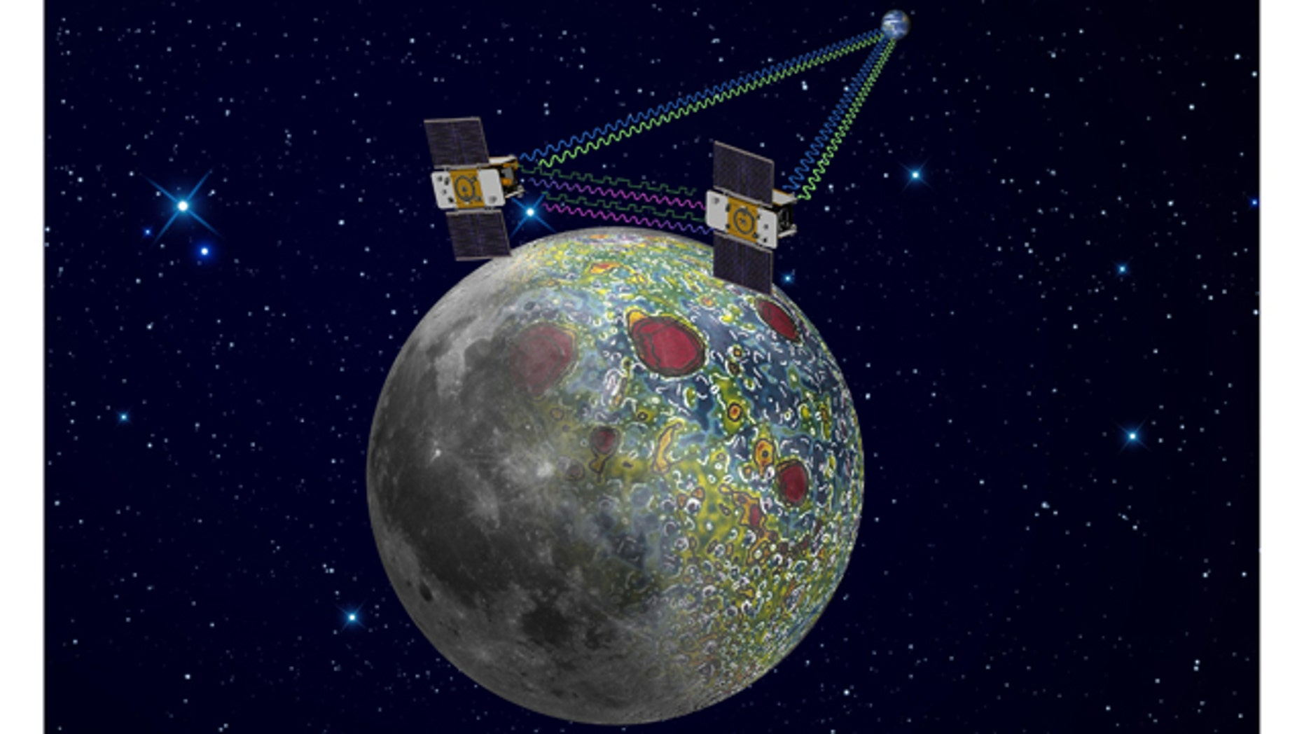 This undated artist rendering provided by NASA on Dec. 21,2011 shows the twin Grail spacecraft mapping the lunar gravity field.