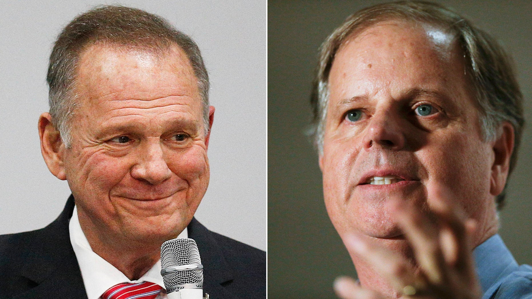Democratic operatives, backed by a liberal billionaire, created thousands of fake Russian accounts to give an impression the Russian government is supporting Alabama Republican Roy Moore (left) in last year's election against now-Sen. Doug Jones (right).