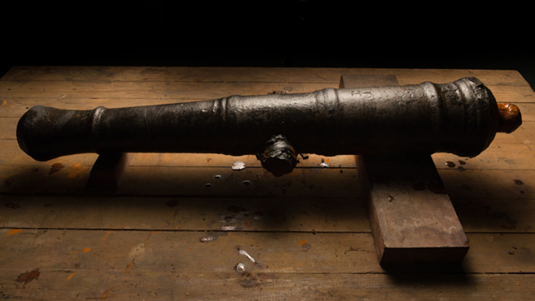 A 17th century cannon, found near the Lajas reef near Fort San Lorenzo, Colon.  The cannons are in conservation at the Patronato Panama Viejo laboratory in Panama City, Panama.  The cannon most likely belonged to Captain Henry Morgan's lost fleet of 1671.