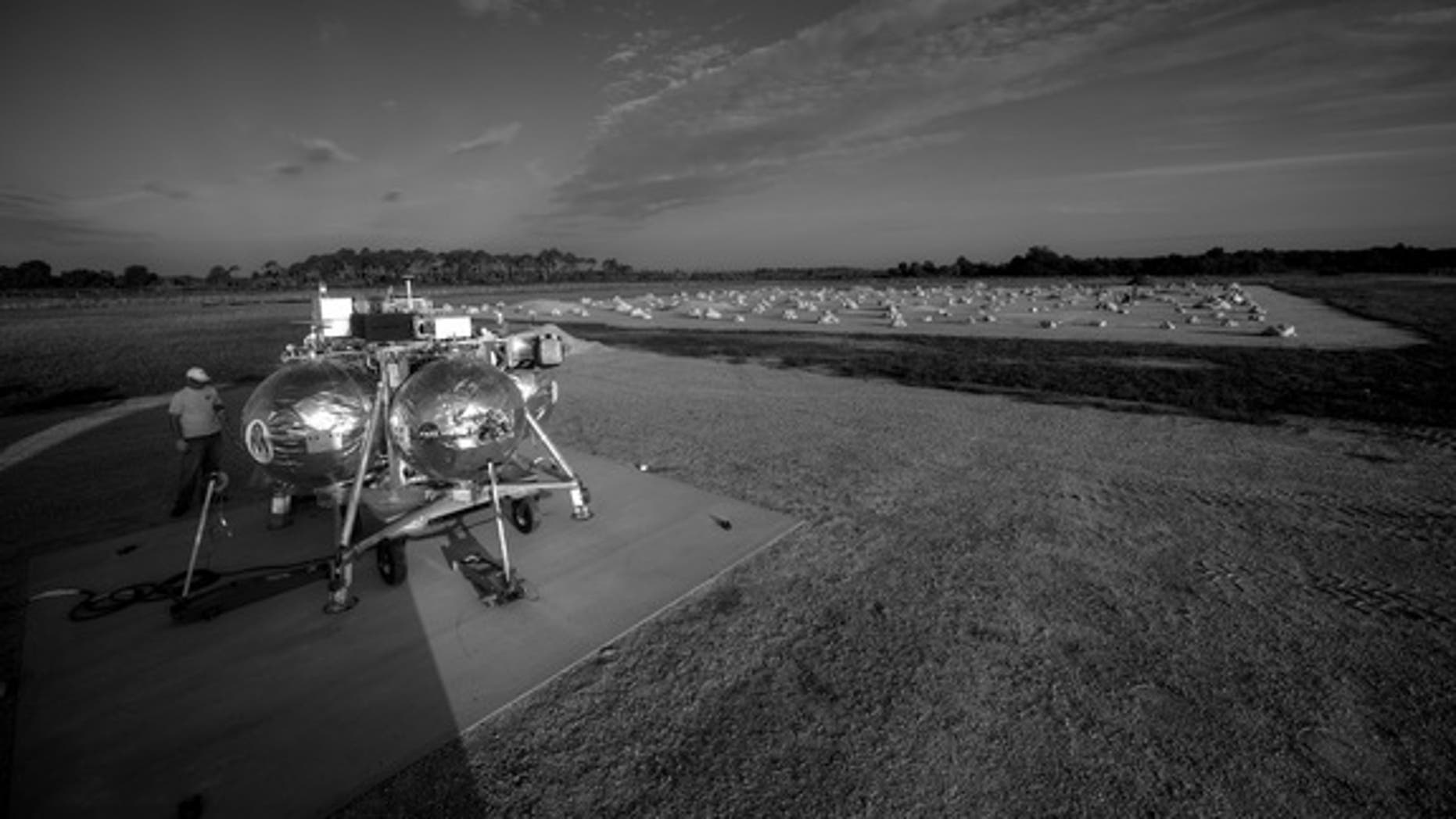 NASA's Morpheus lander prototype and the new hazard field at Kennedy Space Center in Florida are seen in this view. Image released August 2, 2012.