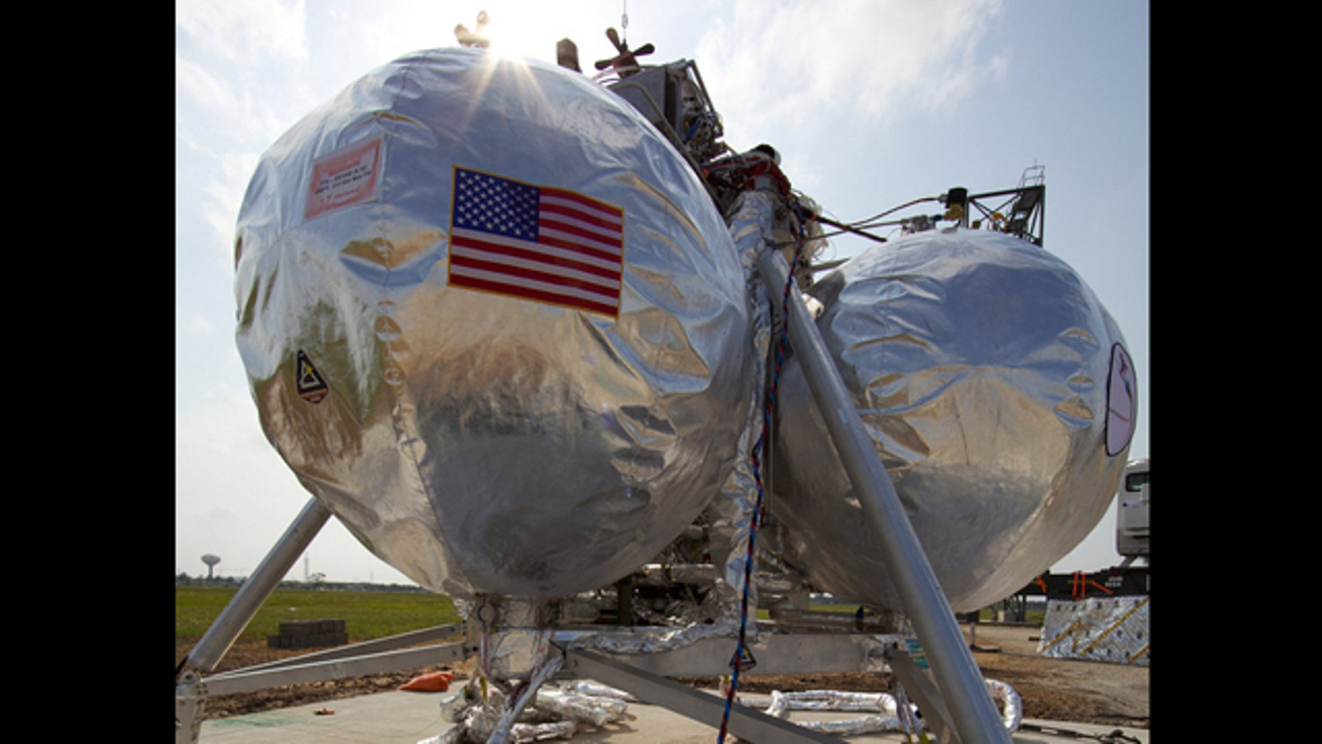 NASA's Morpheus prototype lander rests on its launch pad waiting for a test at Johnson Space Center in Houston.