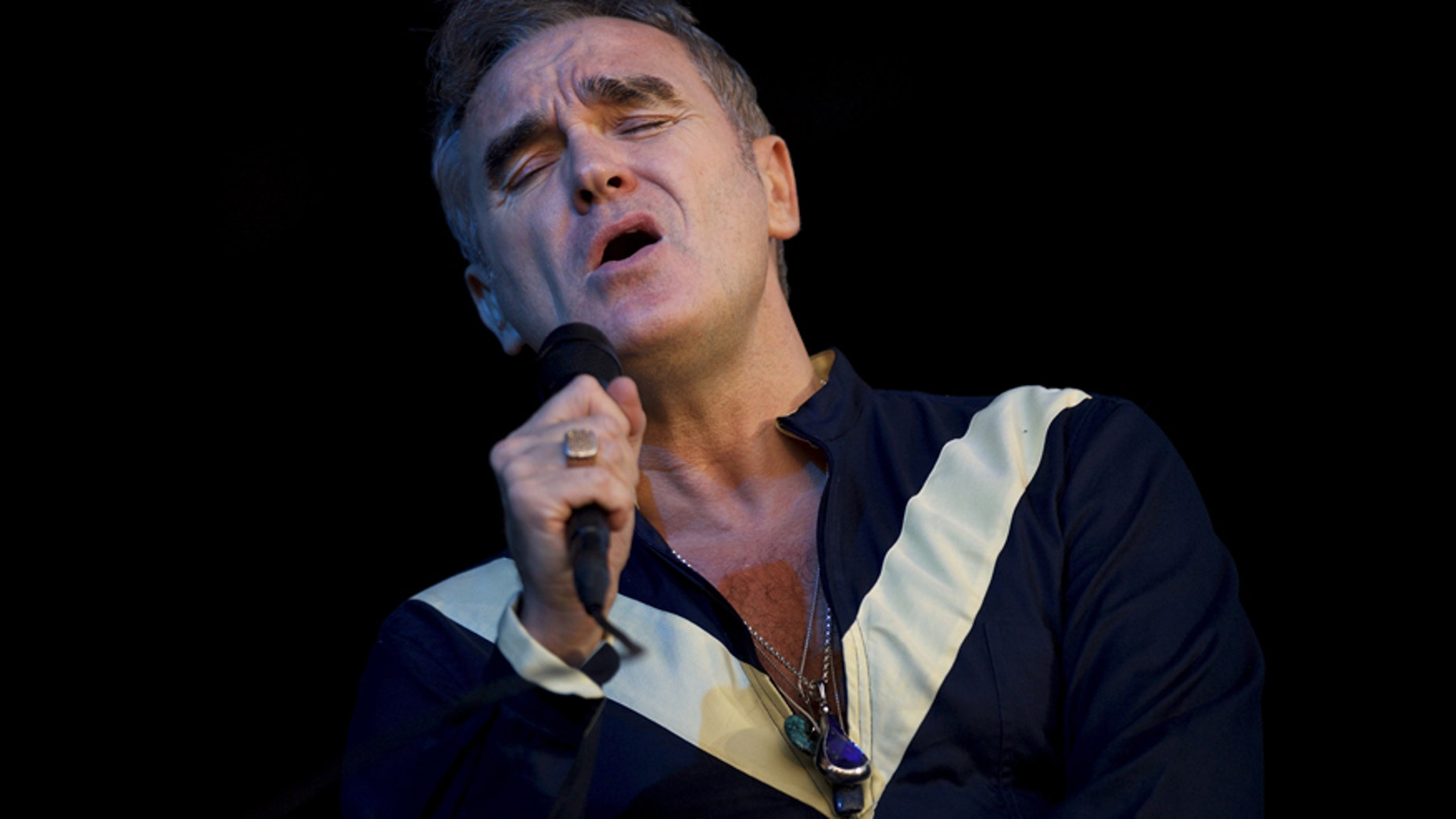 Morrissey became hit for the length of a live stage efficiency over the weekend.