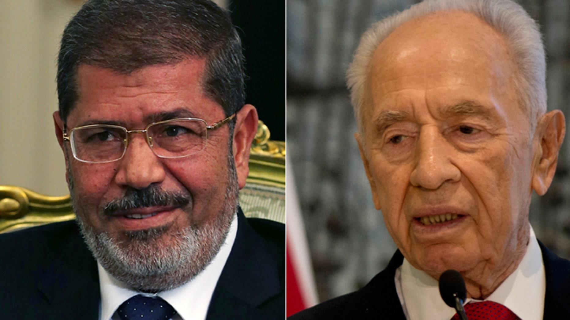 A spokesman for Egyptian President Mohamed Morsi, left, denies sending a letter hoping for peace in the region to Israel's President Shimon Peres, right.