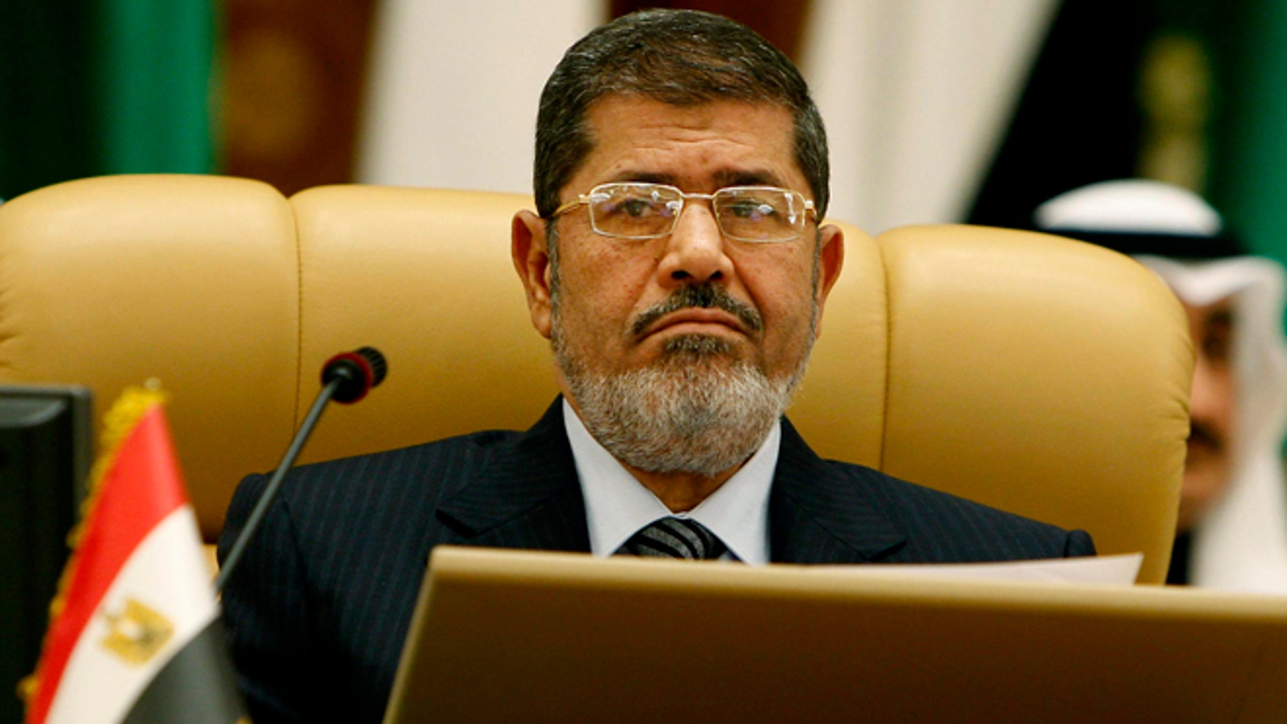 Jan. 21, 2013: Egyptian President Mohammed Morsi attends the third session of the Arab Economic Summit, in Riyadh, Saudi Arabia.