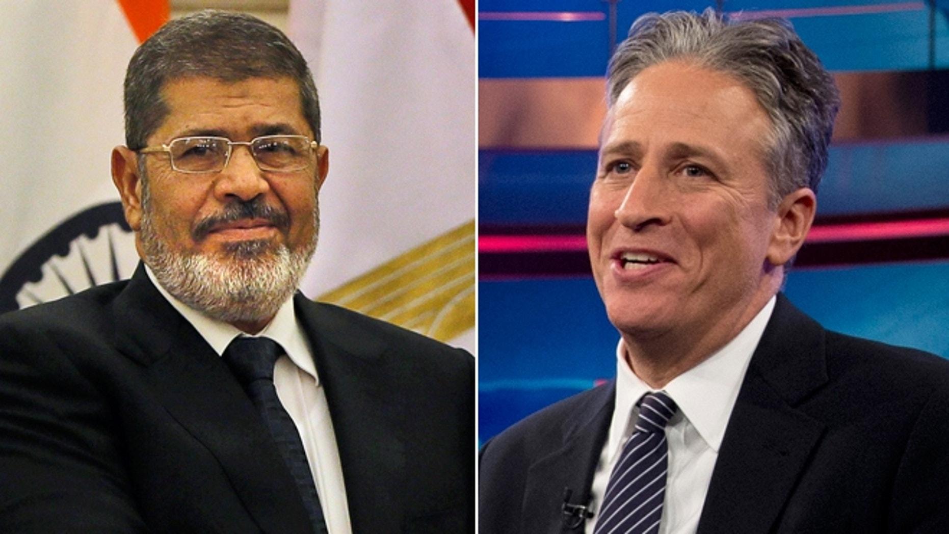 Shown here are Egyptian President Mohammed Morsi, left, and comedian Jon Stewart.