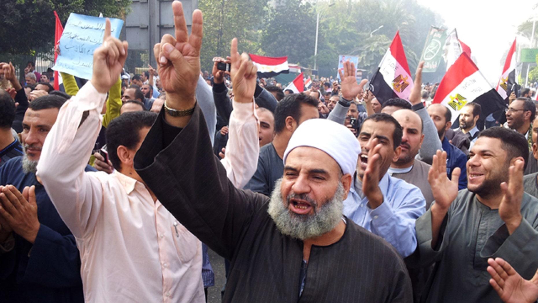 Supporters of Egyptian President Mohammed Morsi march in Cairo, Egypt.
