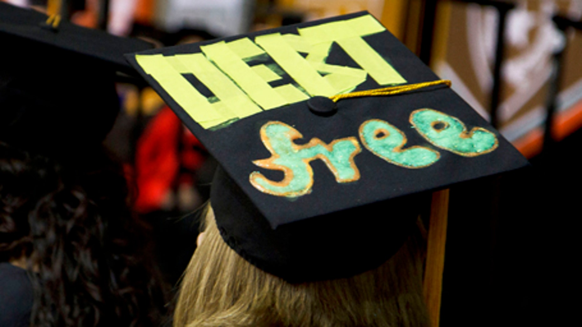 This 2014 photo provided by The University of Texas at Dallas shows, a cap worn by a student at her graduation.
