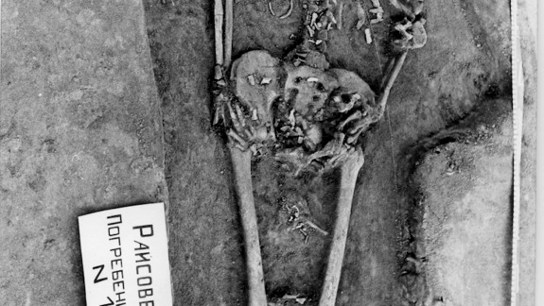 Fetal bones are clearly visible around the abdomen, pelvis and thighs of this woman, buried between 7725 and 7630 years ago, according to carbon dating.