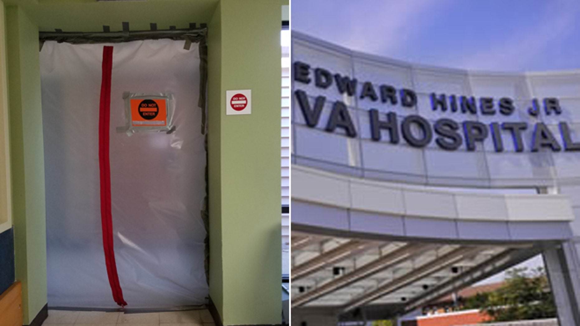 At left, an image of one of the mold-affected rooms at Edward Hines, Jr. VA Hospital.