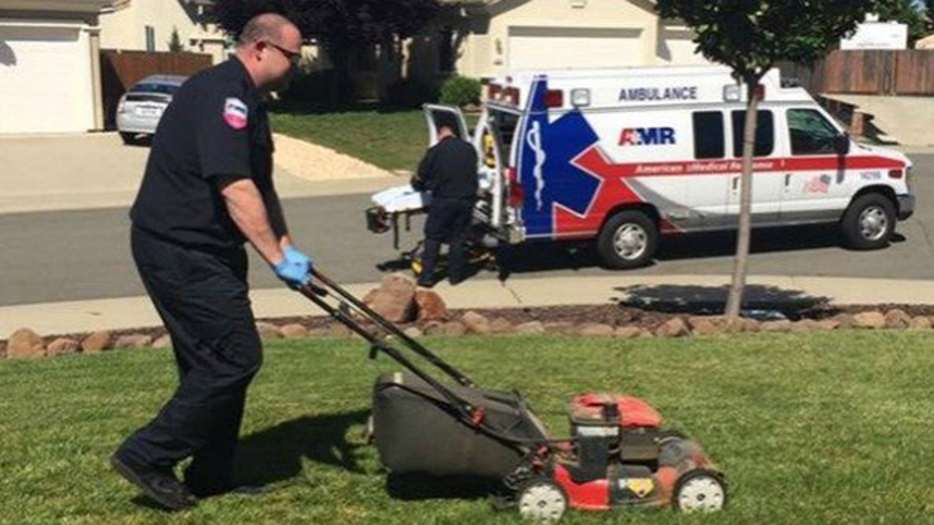 A California EMT worker who responded to an emergency call finished mowing an 86-year-old's yard.