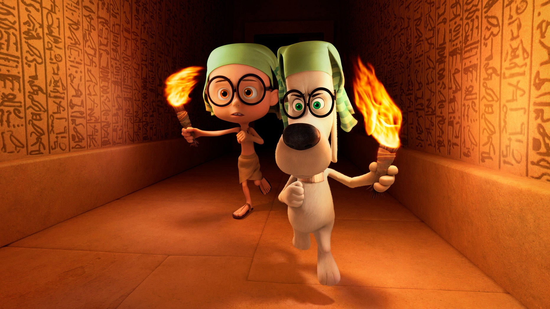 """Sherman, voiced by Max Charles, left, and Mr. Peabody, voiced by Ty Burell, in a scene from the animated film, """"Mr. Peabody & Sherman."""""""