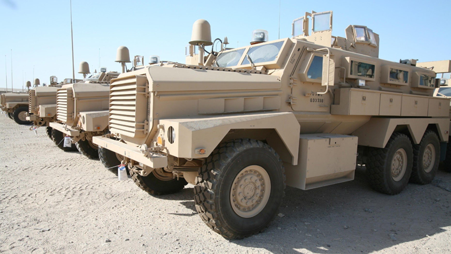 Mine Resistant Ambush Protected (MRAP) vehicles.
