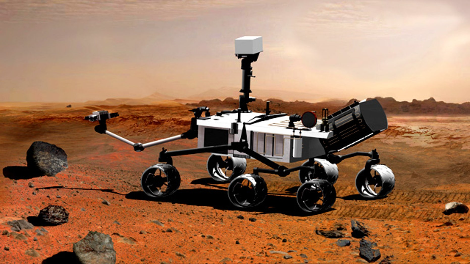 An artist's conception of NASA's next Martian rover, called Curiosity, one of many U.S. missions to the Red Planet run by the Jet Propulsion Lab.