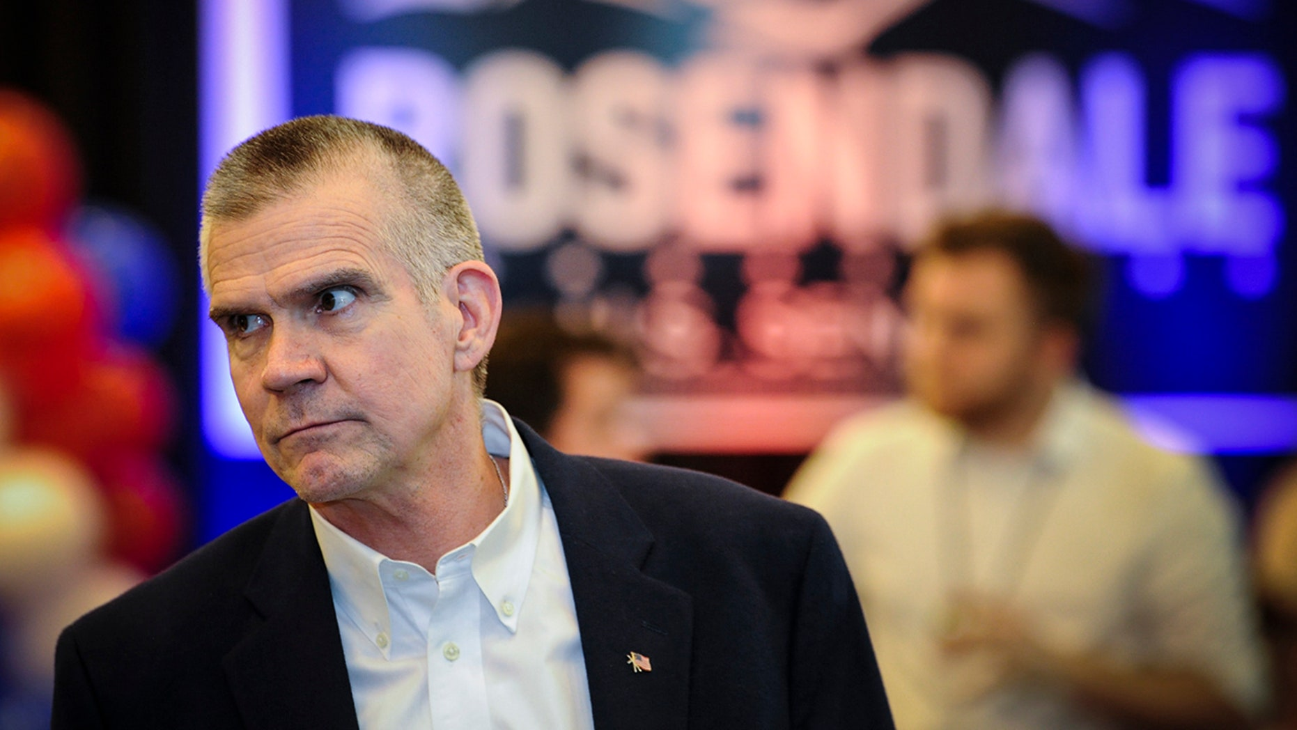 Matt Rosendale, a candidate for the Republican nomination for U.S. Senate, attends a watch party for primary returns.