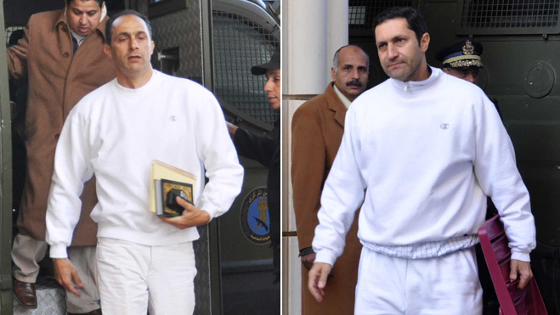 Jan. 24, 2012: FILE - Alaa Mubarak, right, and Gamal Mubarak, left, sons of former Egyptian president Hosni Mubarak, arrive at the court house in Cairo, Egypt.