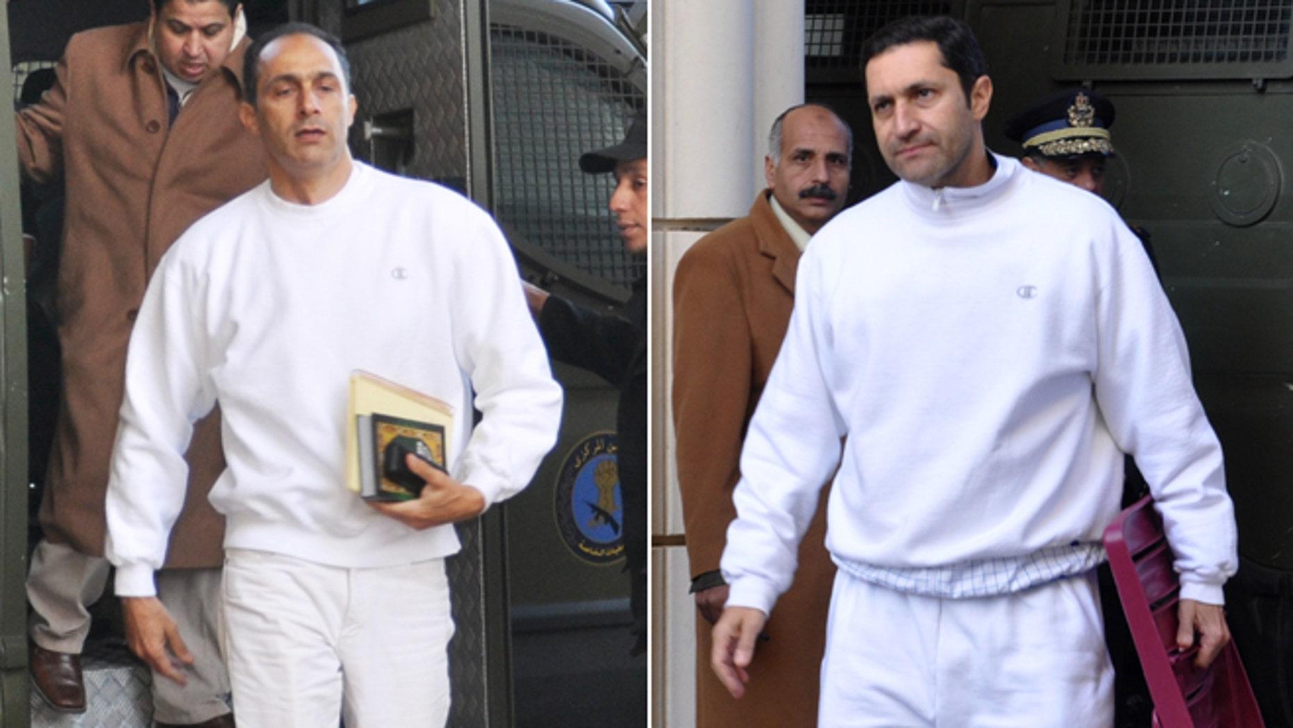 Jan. 24, 2012: FILE - Alaa Mubarak, right, and Gamal Mubarak, left, sons of former Egyptian president Hosni Mubarak, arrive at the court house in Cairo, Egypt.
