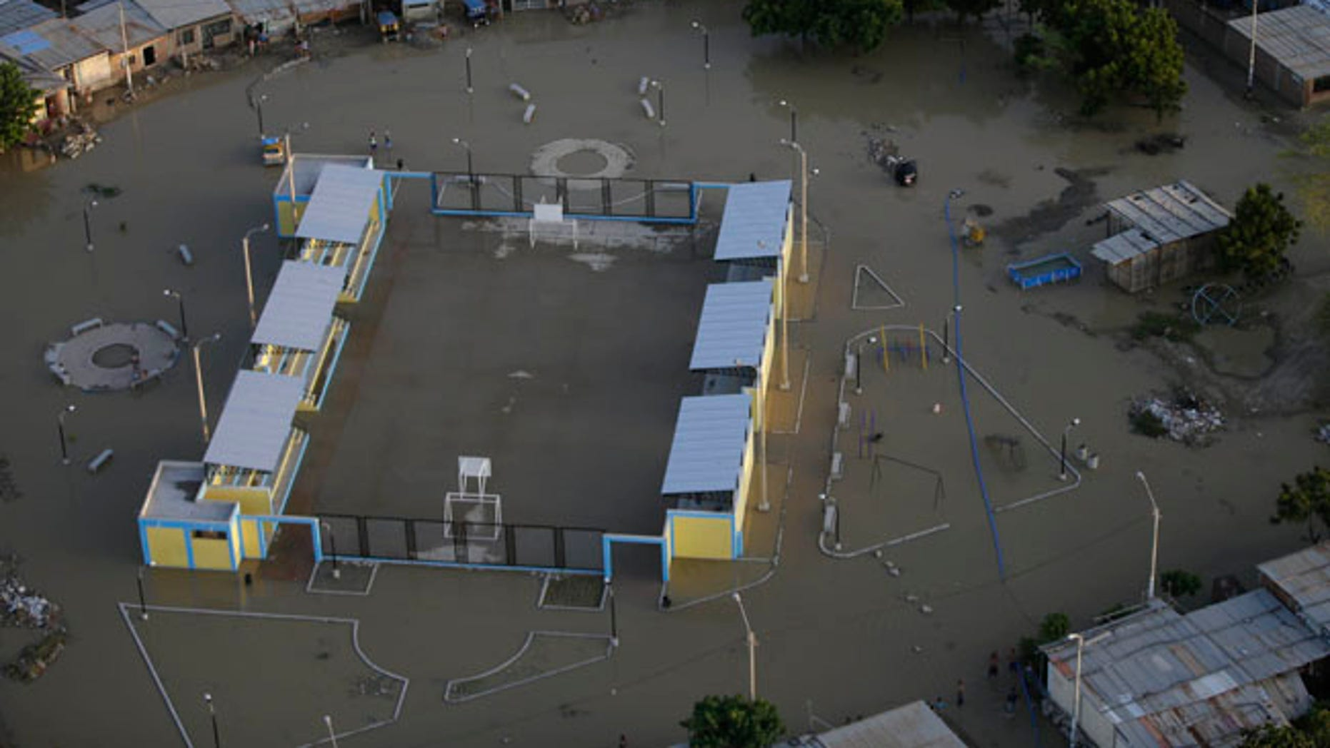 A flooded neighborhood in Piura, Peru, on Wednesday, March 22, 2017. Intense rain, overflowing rivers and mudslides have hit the country.