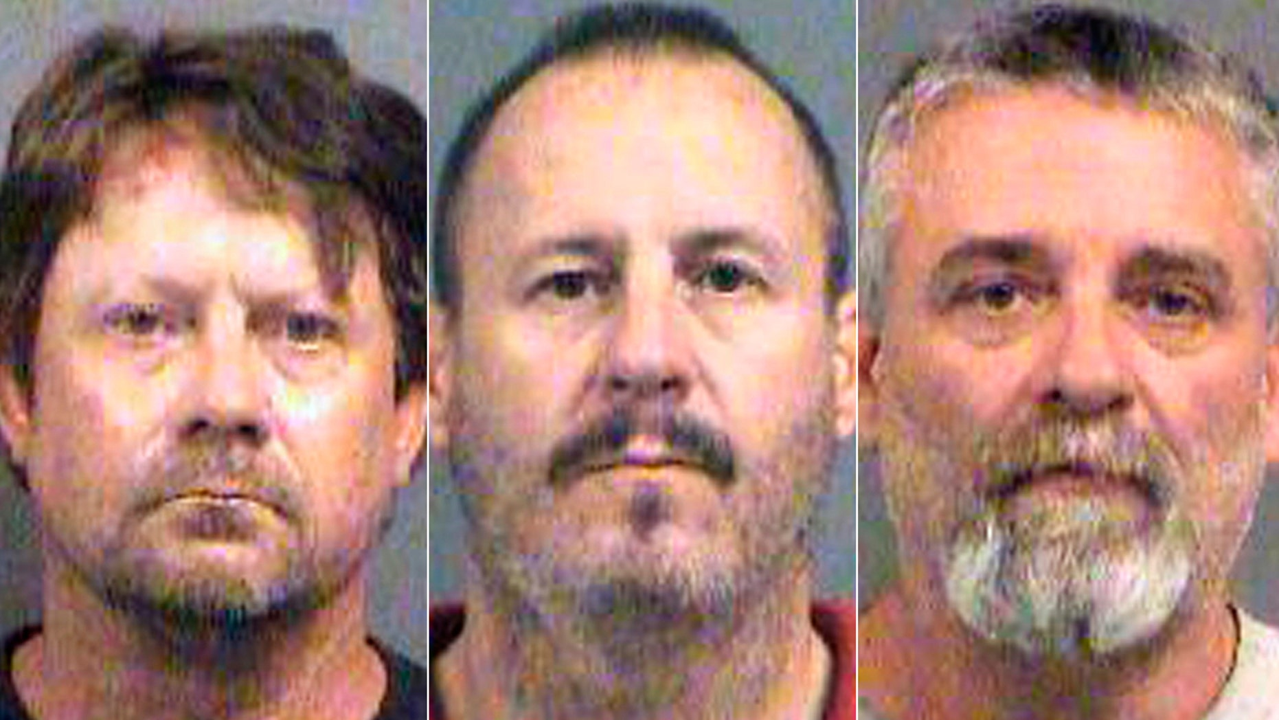 This combination of Oct. 14, 2016, file booking photos provided by the Sedgwick County Sheriff's Office in Wichita, Kan., shows from left, Patrick Stein, Curtis Allen and Gavin Wright, three members of a Kansas militia group who were charged with plotting to bomb an apartment building filled with Somali immigrants in Garden City, Kan.