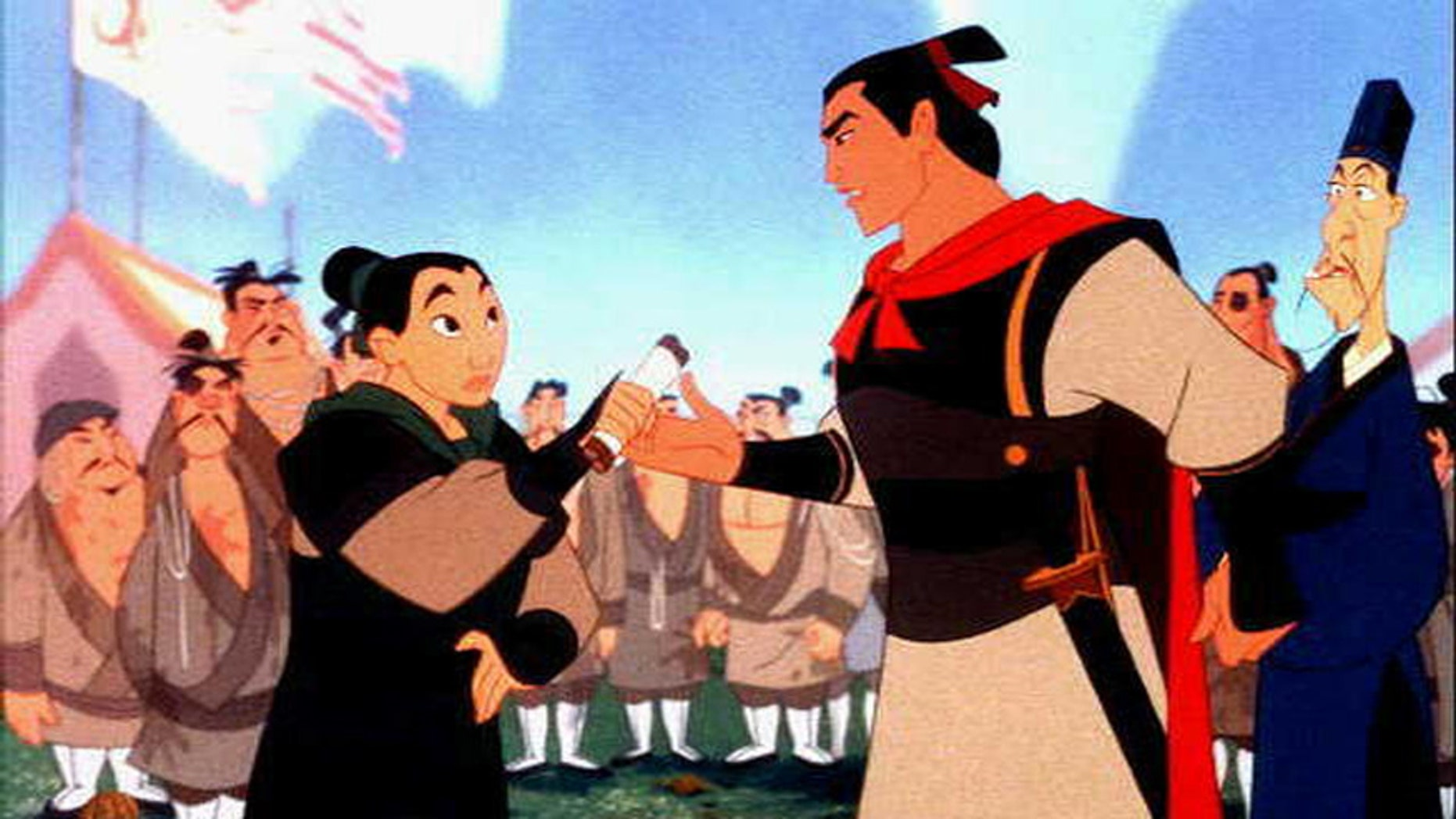 "A scene from the Disney animated film ""Mulan."""