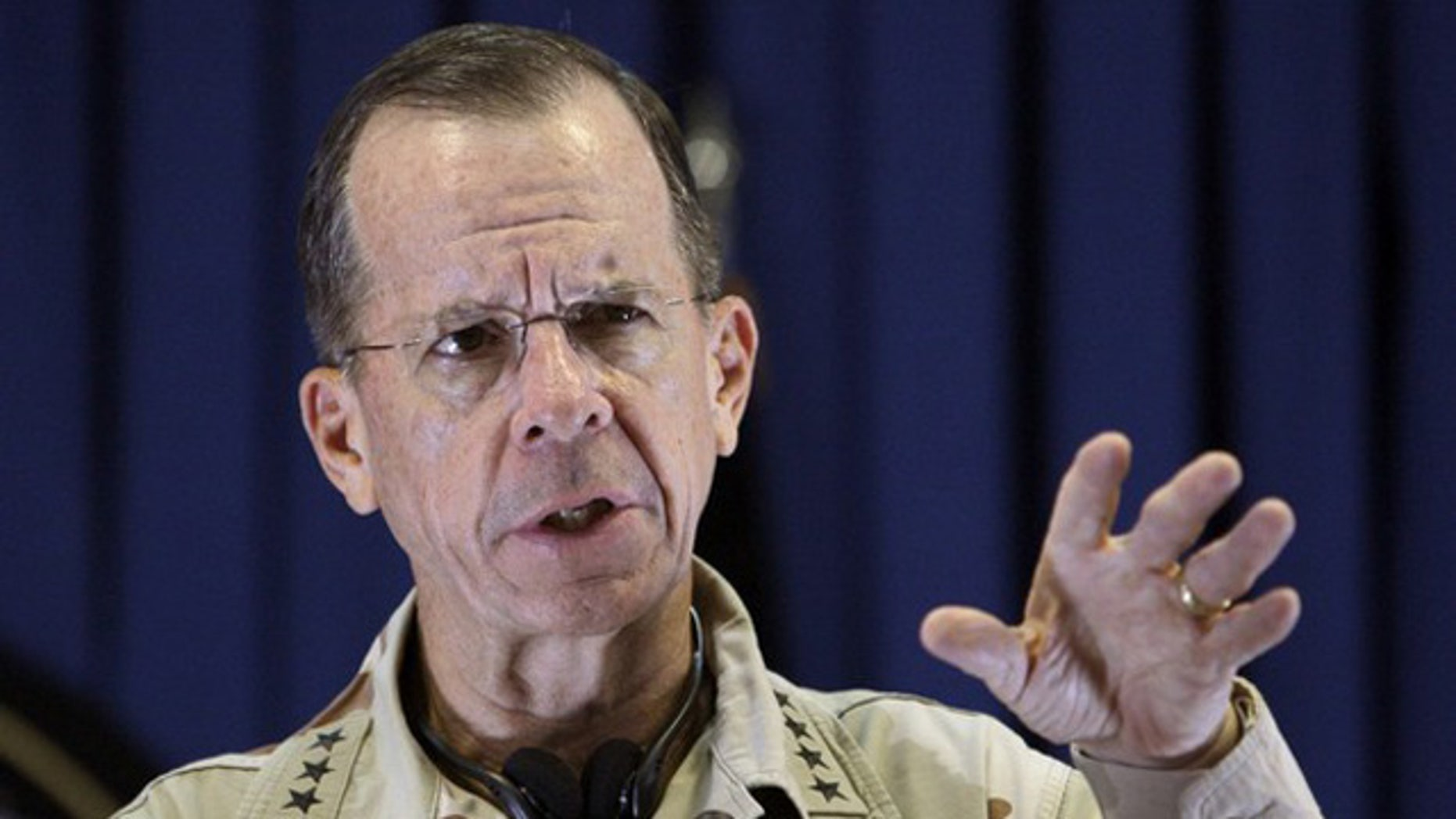 Adm. Mike Mullen speaks during a July 25 news conference in Kabul, Afghanistan. (Reuters Photo)