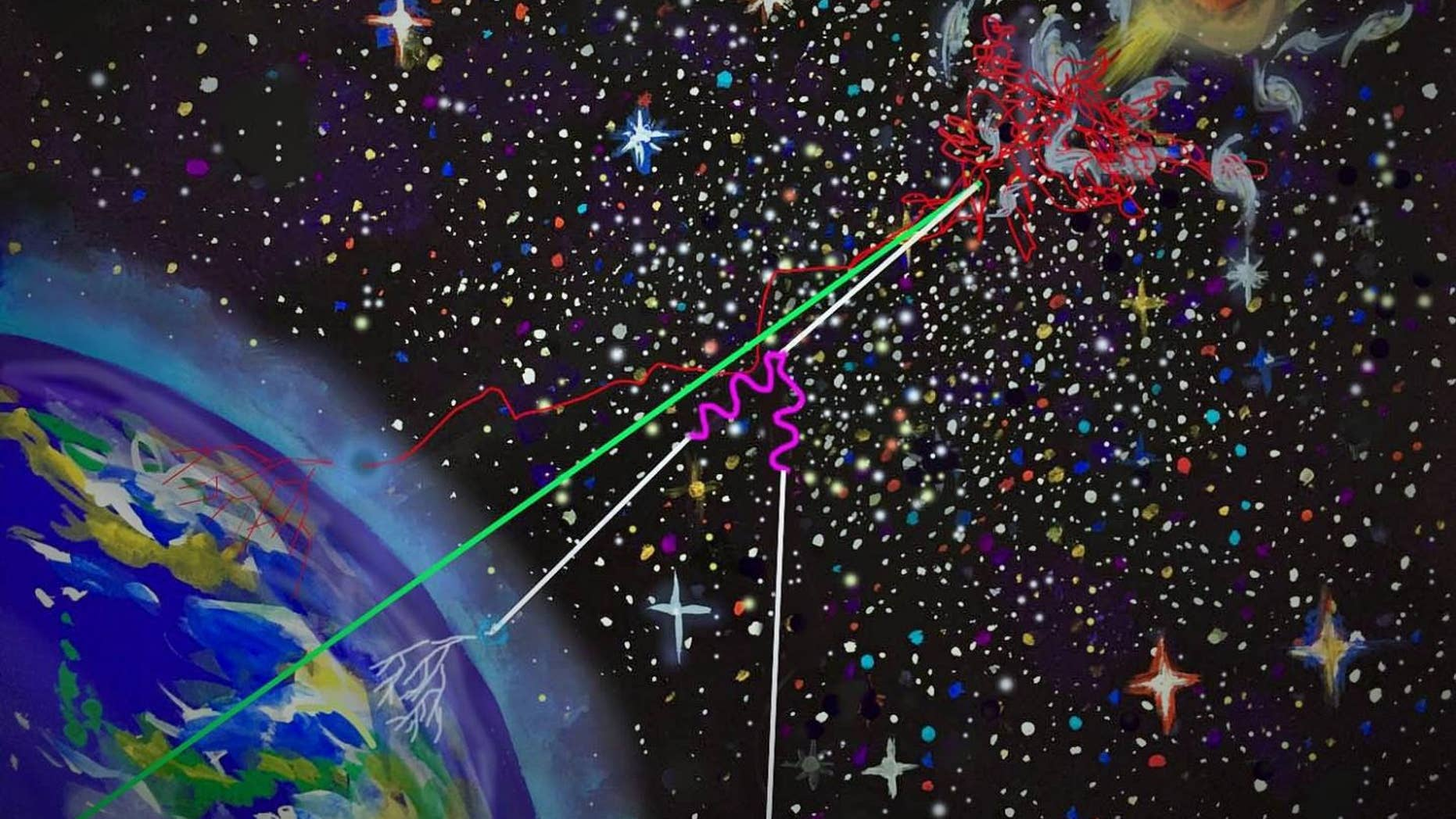 """This artist's image reveals the """"multimessenger"""" emission. As cosmic rays are accelerated by a supermassive black hole, the high-energy rays escaping are trapped in the environment around it. The high-energy neutrinos and gamma-rays are produced in the magnetized environment during their confinement and intergalactic space as they move through it. The three particles eventually reach Earth, where they can provide a unified picture."""