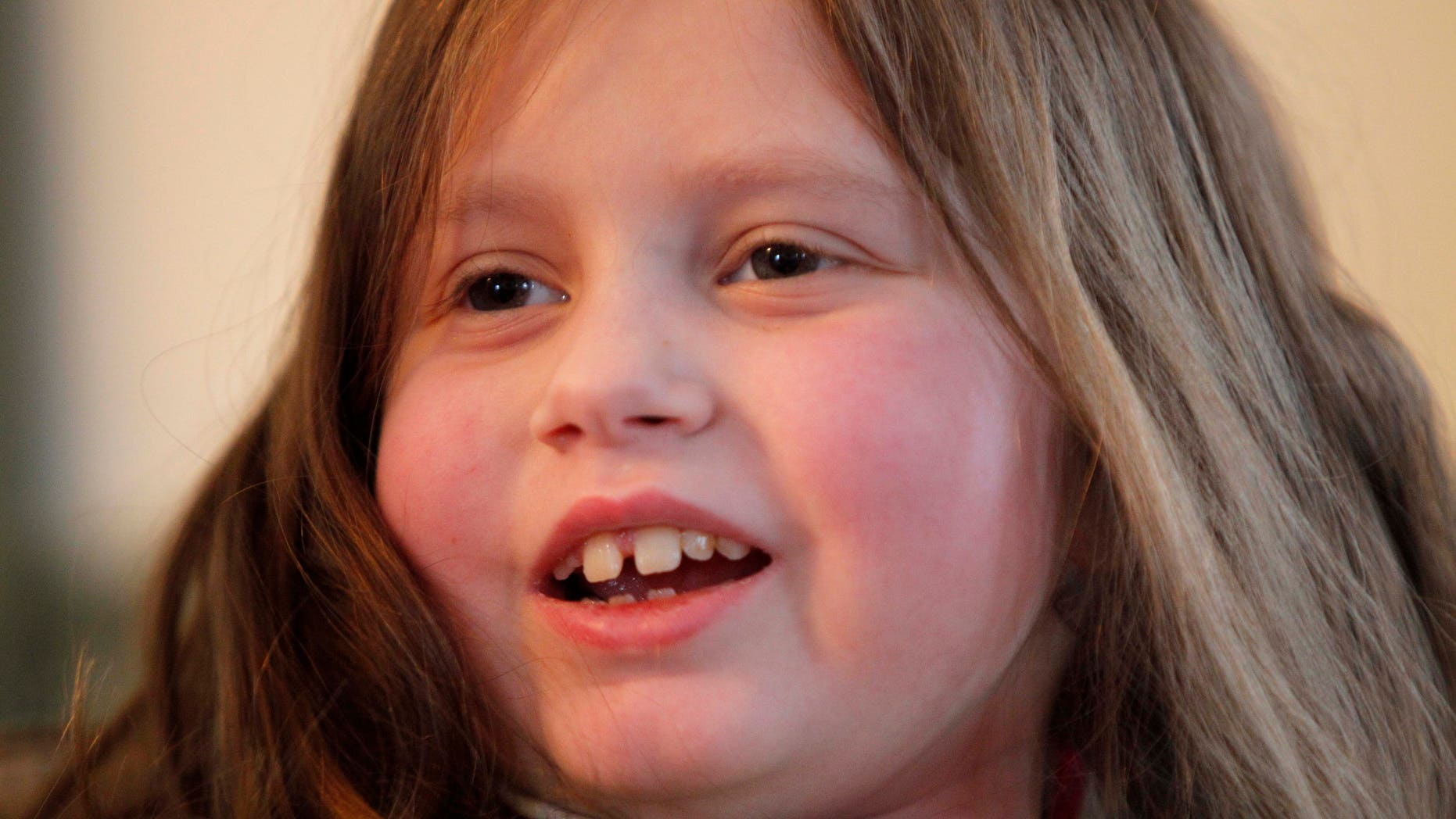 Alannah Shevenell, 9, after receiving six new organs in a groundbreaking operation. (AP Photo/Robert F. Bukaty)