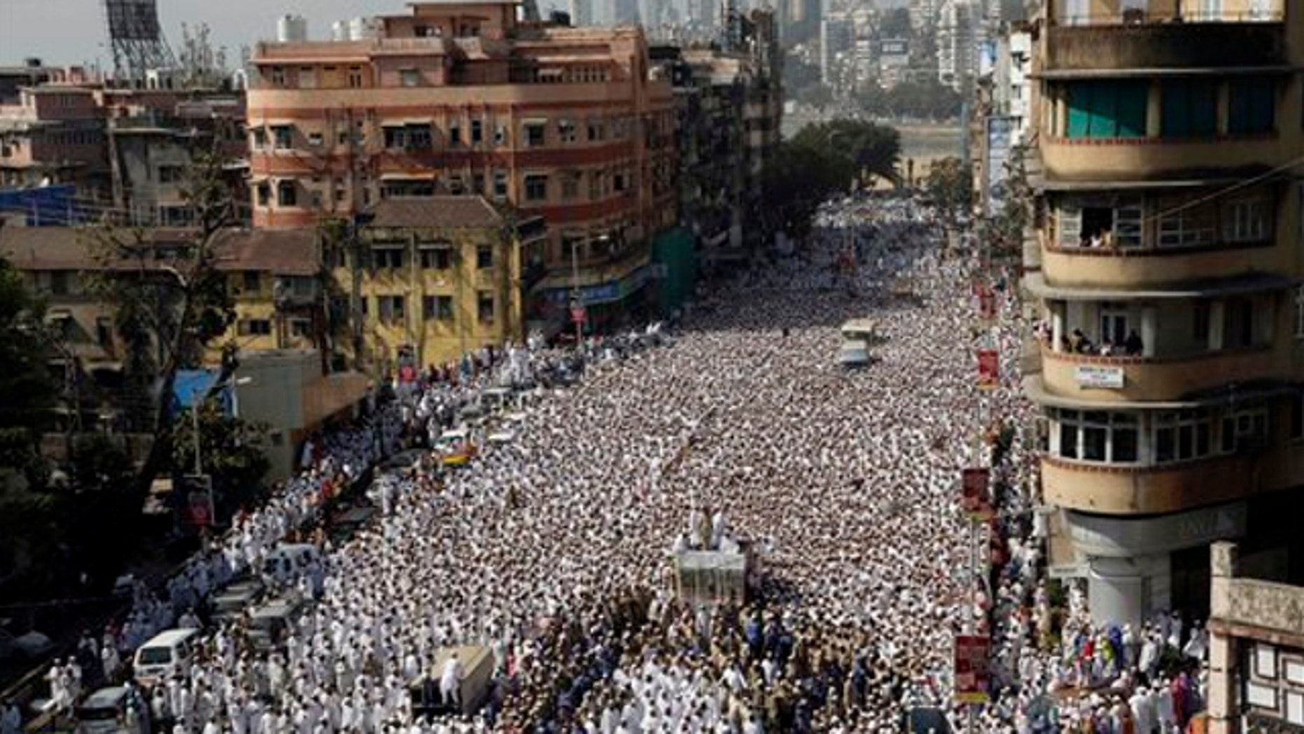 Jan. 18, 2014: Indian Muslims join the funeral procession of the head of the Dawoodi Bohra Muslim community Syedna Mohammed Burhanuddin in Mumbai, India.
