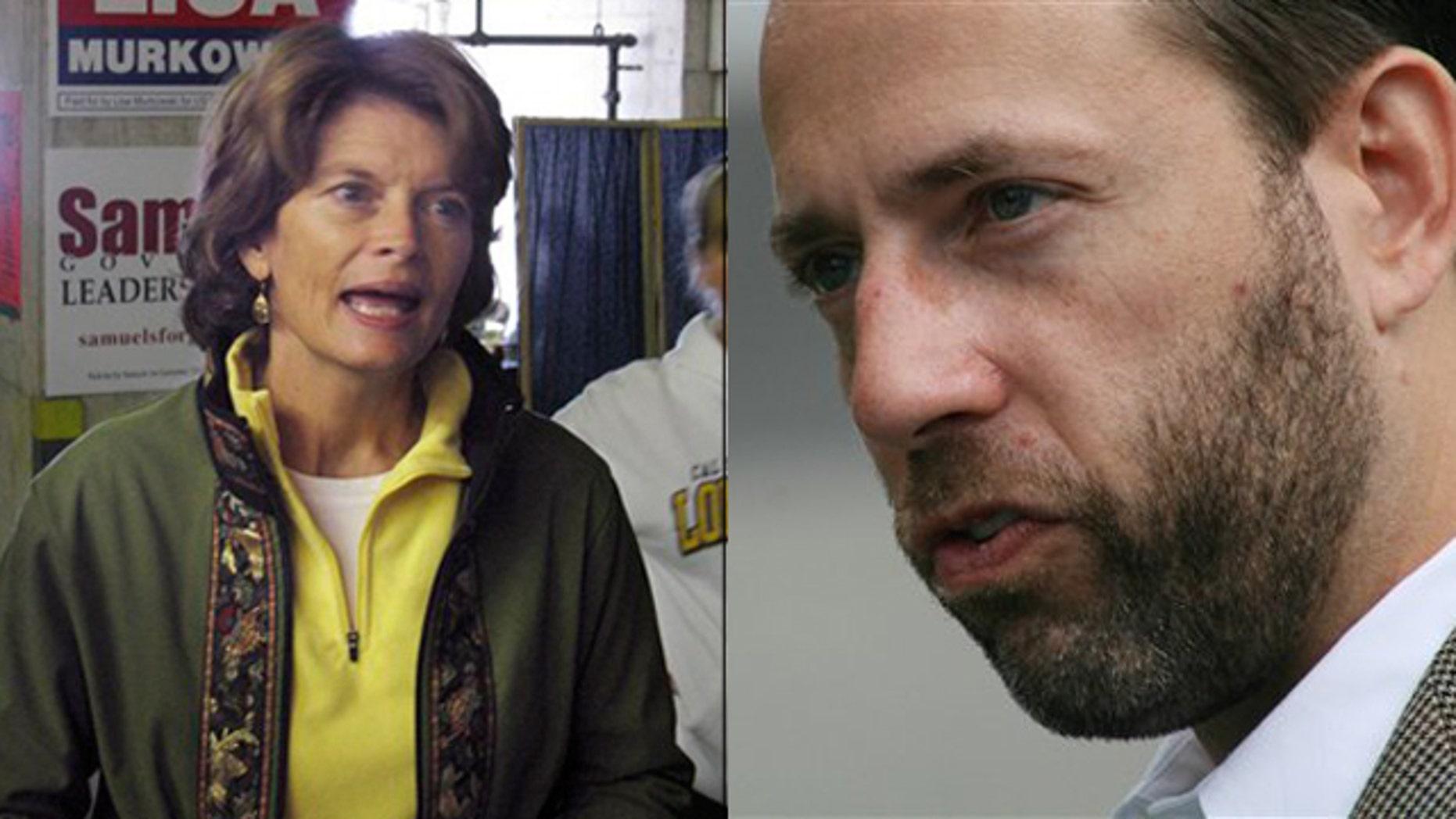 Shown here are Alaska Sen. Lisa Murkowski, left, and challenger Joe Miller. (AP Photos)