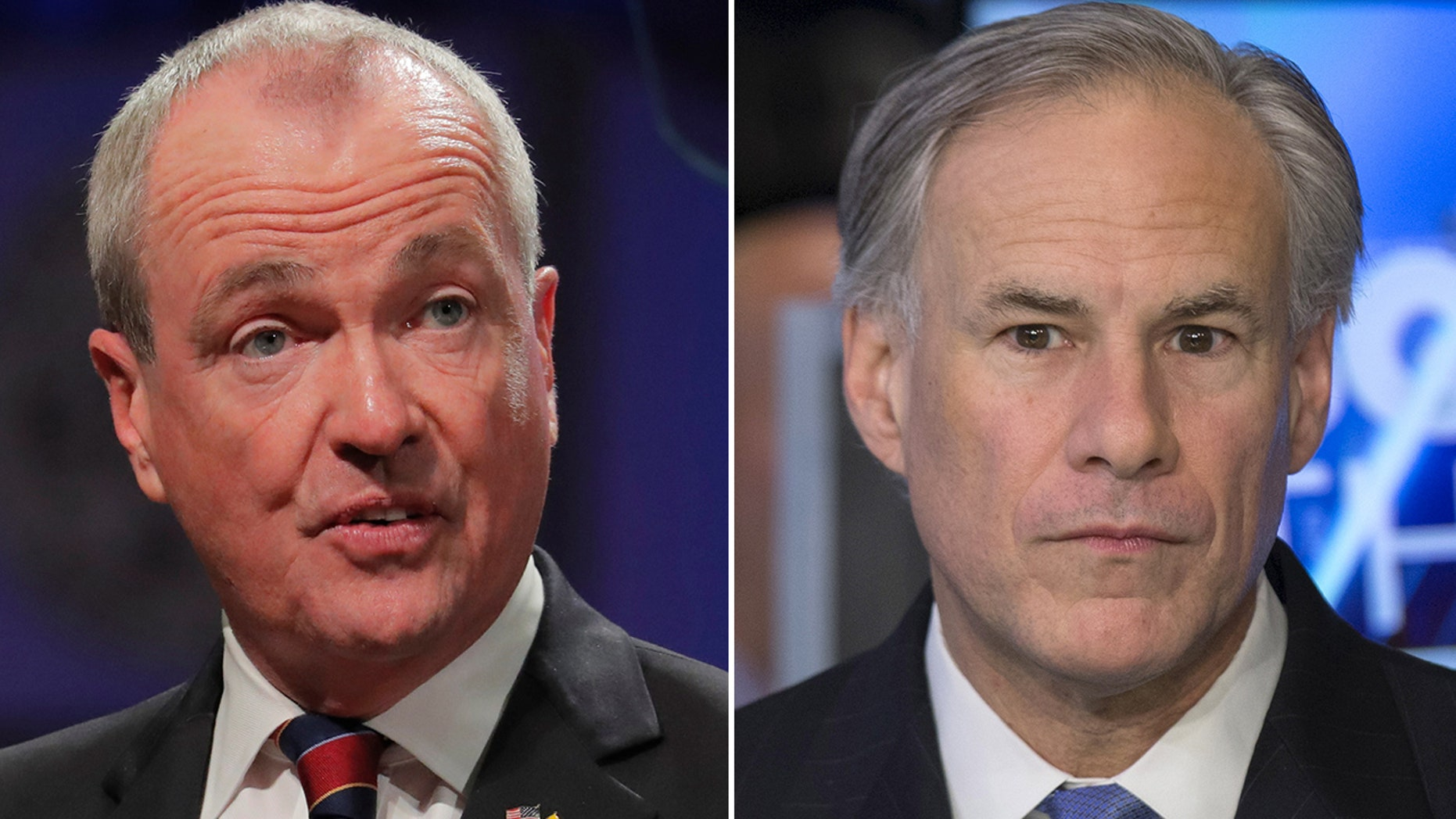 New Jersey Gov. Phil Murphy, left, responded to Texas Gov. Greg Abbott's, right, op-ed with a slew of reasons why his state's future is worth betting on.