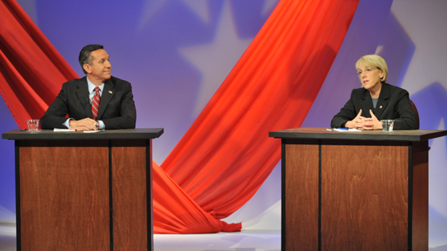 Oct. 14, 2010: Democratic Sen. Patty Murray answers a question during a debate against Republican challenger Dino Rossi at KSPS television station in Spokane, Wash.