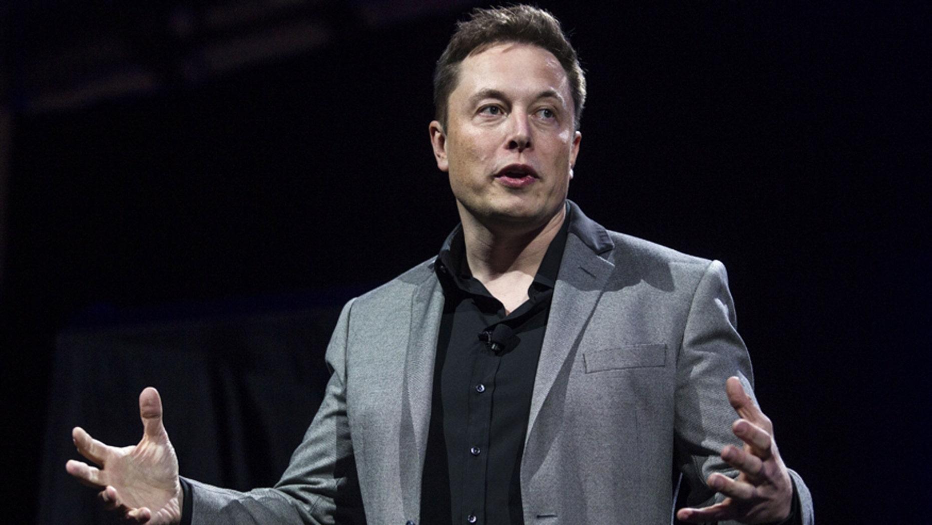 Tesla CEO Elon Musk speaks onstage in April 2015.