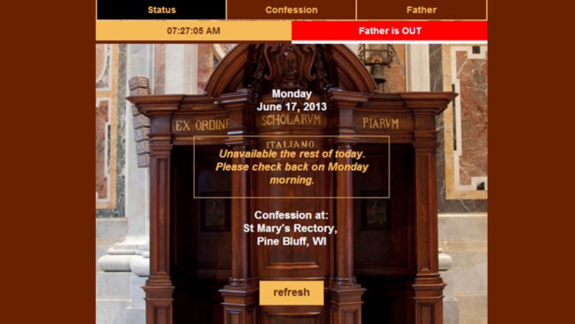A screenshot of the website for the My Confessor app, where the faithful will be able to keep up digitally with when their local priest is hearing confession.