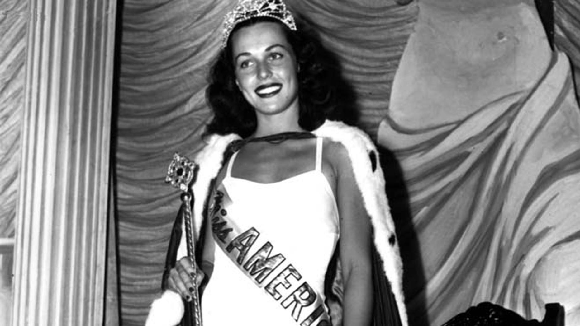 Sept. 8, 1945: Bess Myerson, of New York, holds the scepter after being crowned Miss America 1945 at the annual Miss America pageant in Atlantic City, N.J.