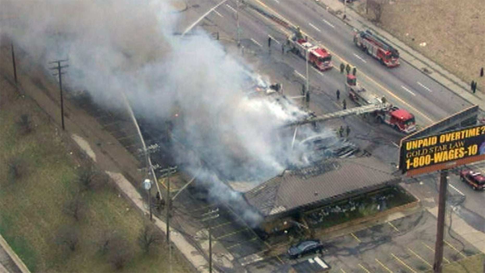 This aerial photo shows the Park Medical Plaza on Grand Boulevard at Grand River after a fire broke out Tuesday morning.