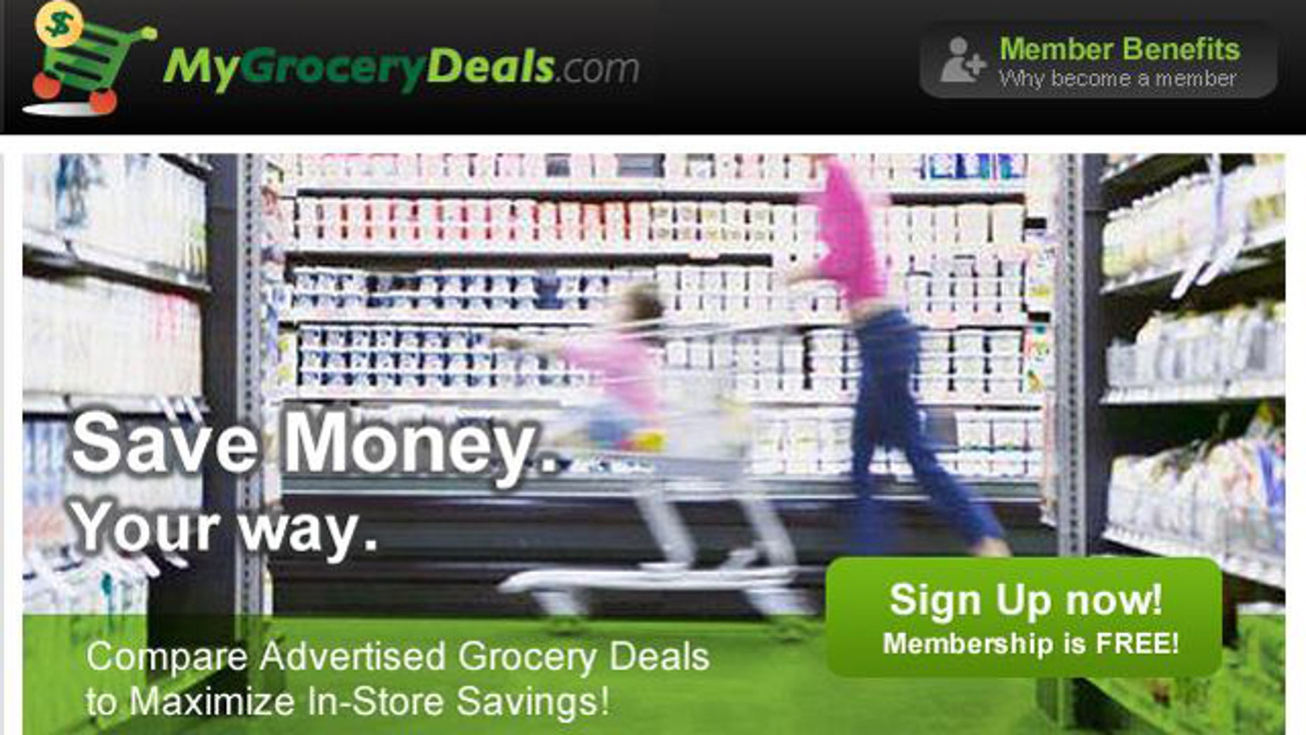 A screenshot of the website for MyGroceryDeals.com, where you can find deals and bargains at local area supermarkets.
