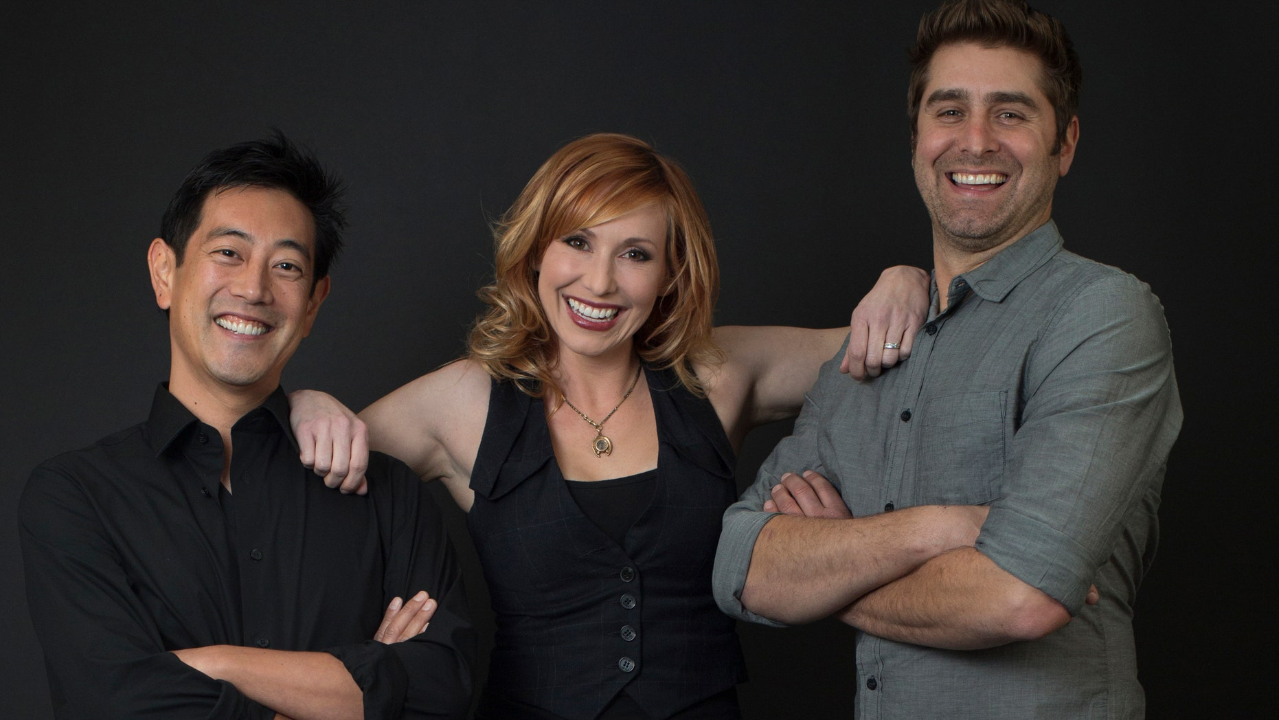 "From left to right, ""Mythbuster cohosts Grant Imahara, Kari Byron and Tory Belleci."