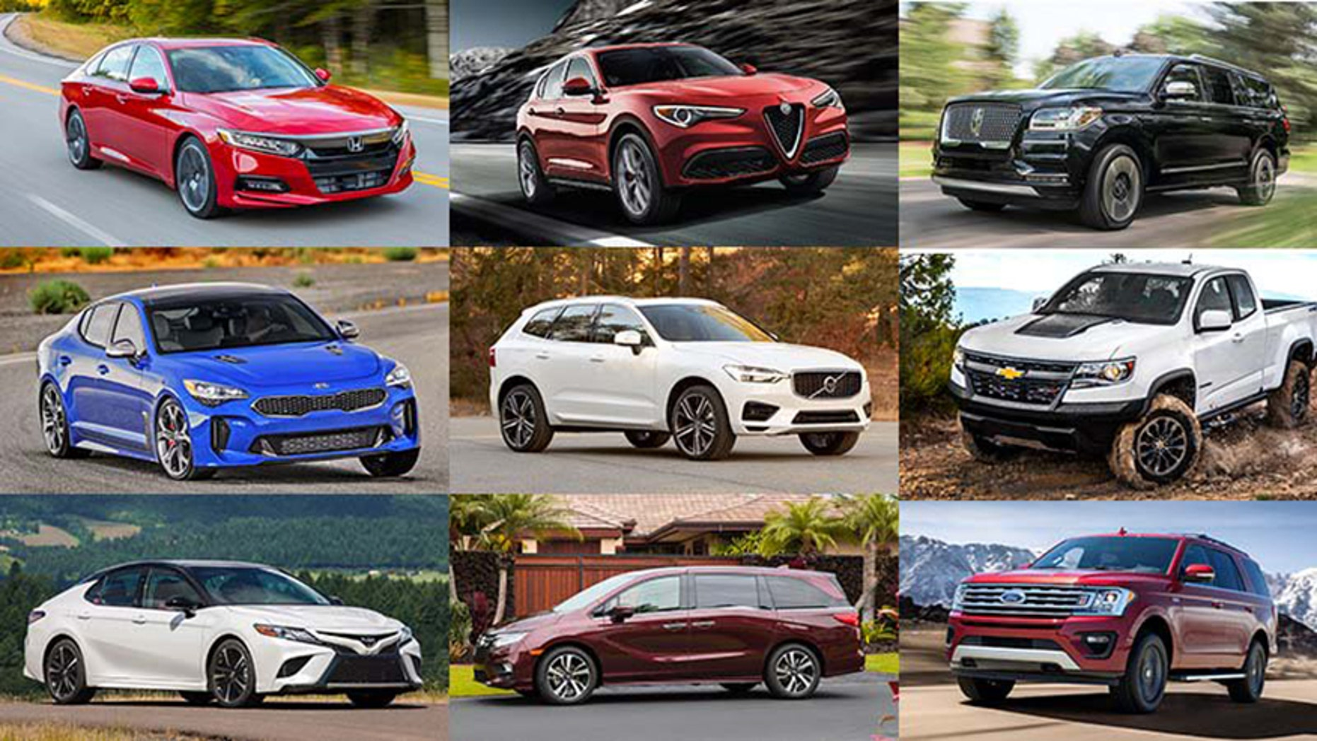 Top row (L to R): Honda Accord, Alfa Romeo Stelvio, Lincoln Navigator. Middle row: Kia Stinger, Volvo XC60, Chevrolet Colorado ZR2. Bottom row: Toyota Camry, Honda Odyssey, Ford Expedition