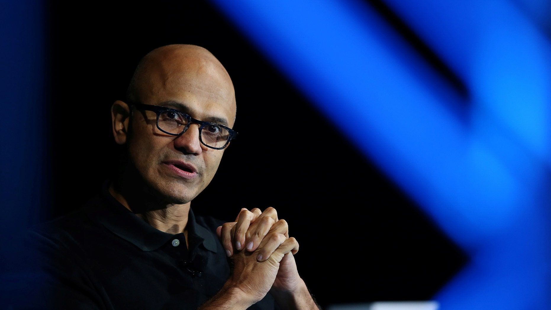 File photo - Satya Nadella, CEO of Microsoft, speaks during the opening night of the WSJD Live conference in Laguna Beach, California Oct. 24, 2016. (REUTERS/Mike Blake)