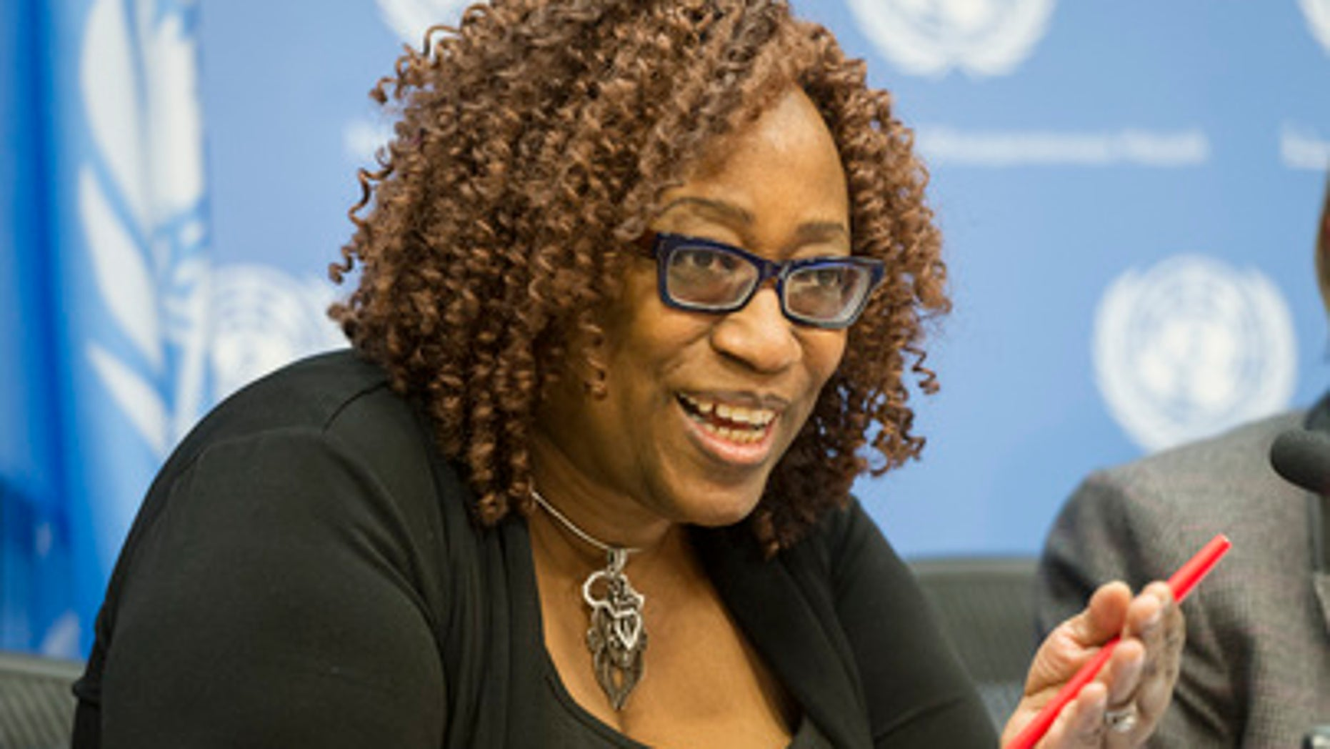 """Nancee Bright, from the office of the UN Special Representative on Sexual Violence in Conflict, briefs journalists on the release in March of the secretary-general's report to the General Assembly titled, """"Special Measures for Protection from Sexual Exploitation and Abuse: A New Approach."""""""