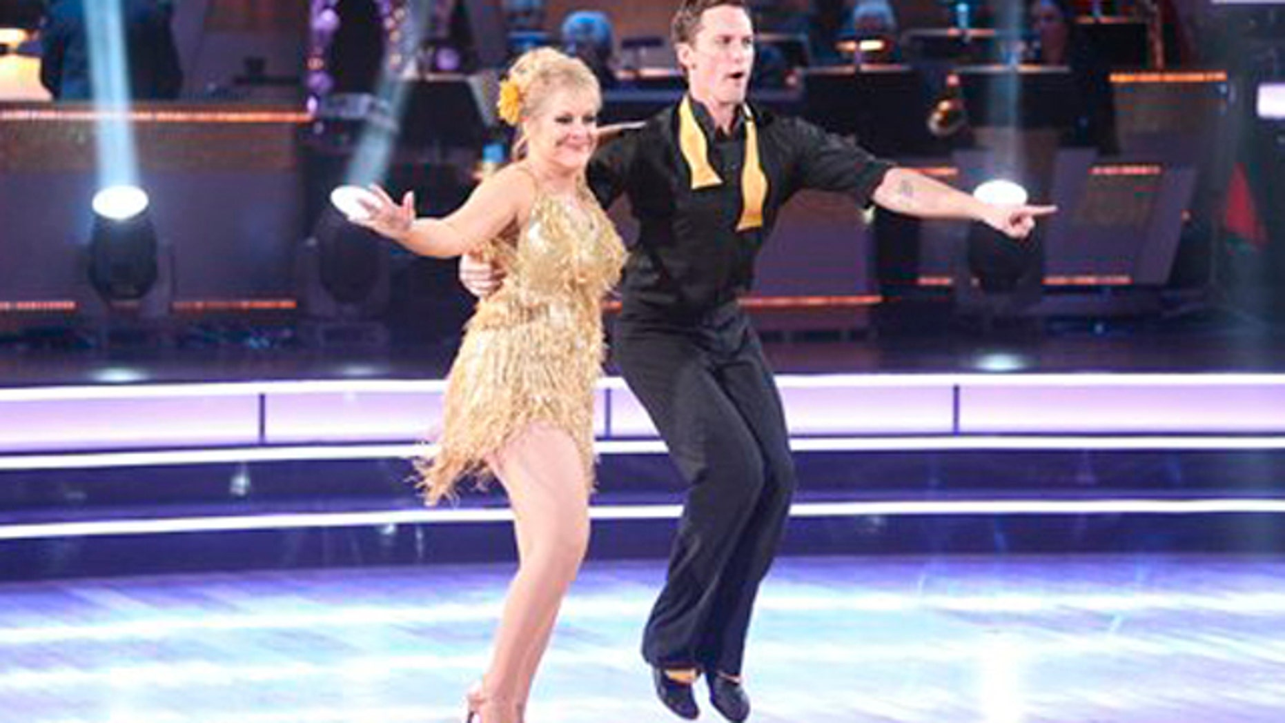 "In this Monday, Nov. 7, 2011 photo released by ABC, Nancy Grace, left, and her partner Tristian Macmanus perform on the celebrity dance competition series ""Dancing with the Stars"" in Los Angeles."