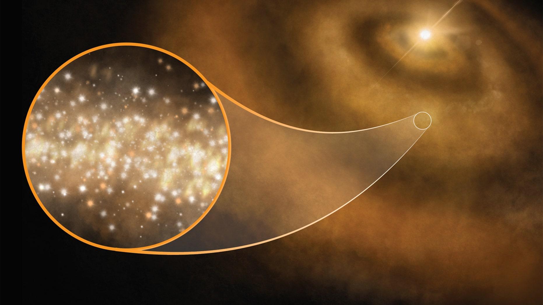 An artist's illustration of nanodiamonds (tiny nanoscale diamonds) around a young star in our Milky Way galaxy.