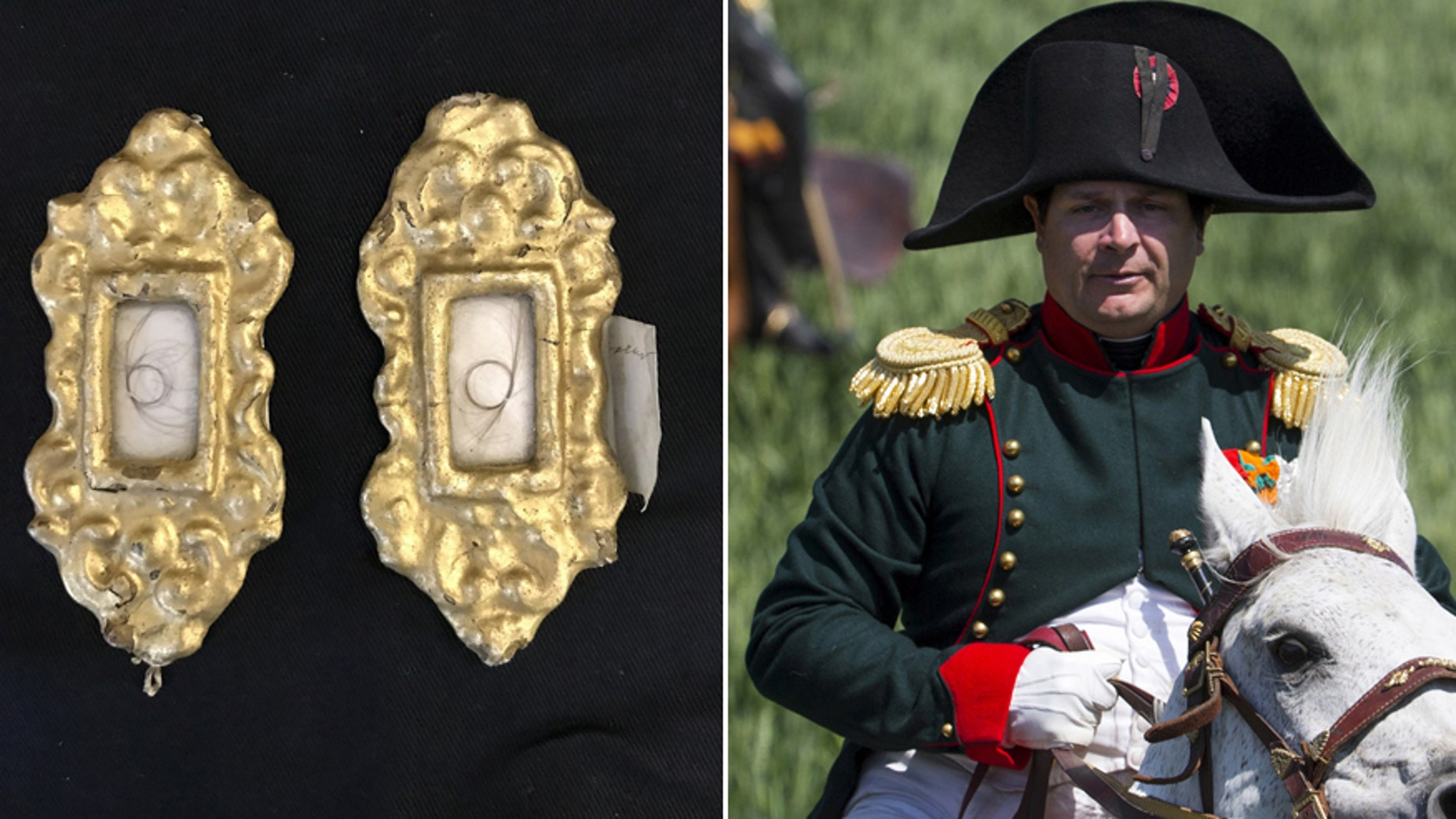The locket containing locks of hair from Napoleon and Empress Josephine (Henry Aldridge & Son)/File photo - Frenchman Frank Samson takes part in the re-enactment of the battle of Ligny, as French Emperor Napoleon, during the bicentennial celebrations for the Battle of Waterloo, in Ligny, Belgium, June 14, 2015.  (REUTERS/Yves Herman)