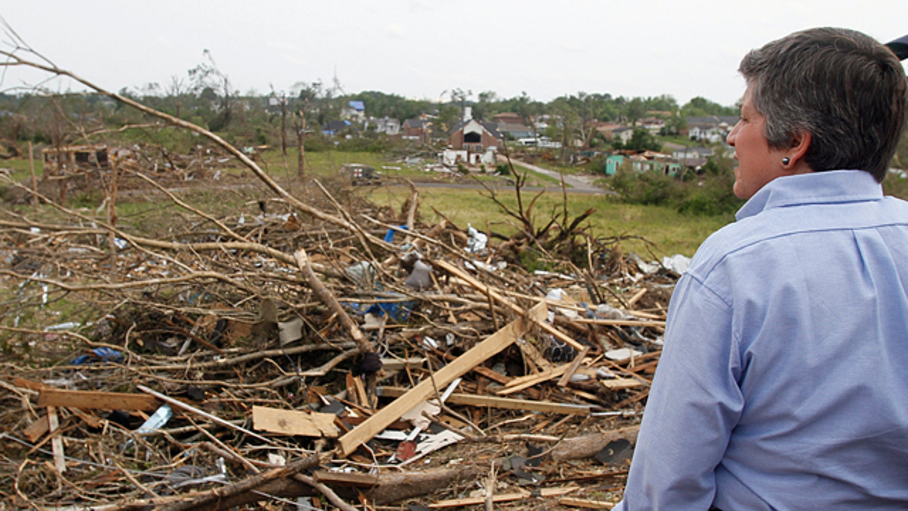 May 1: Homeland Security Secretary Janet Napolitano looks over the destruction where a tornado ripped Pratt City