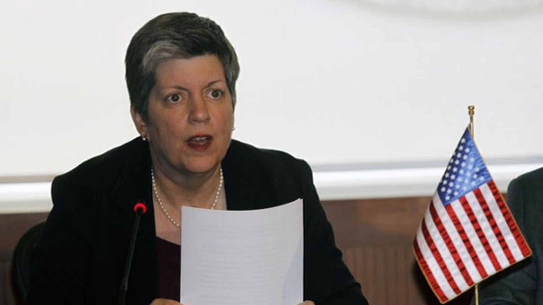 Department of Homeland Security Secretary Janet Napolitano attends a meeting in Mexico City March 23. (Reuters Photo)