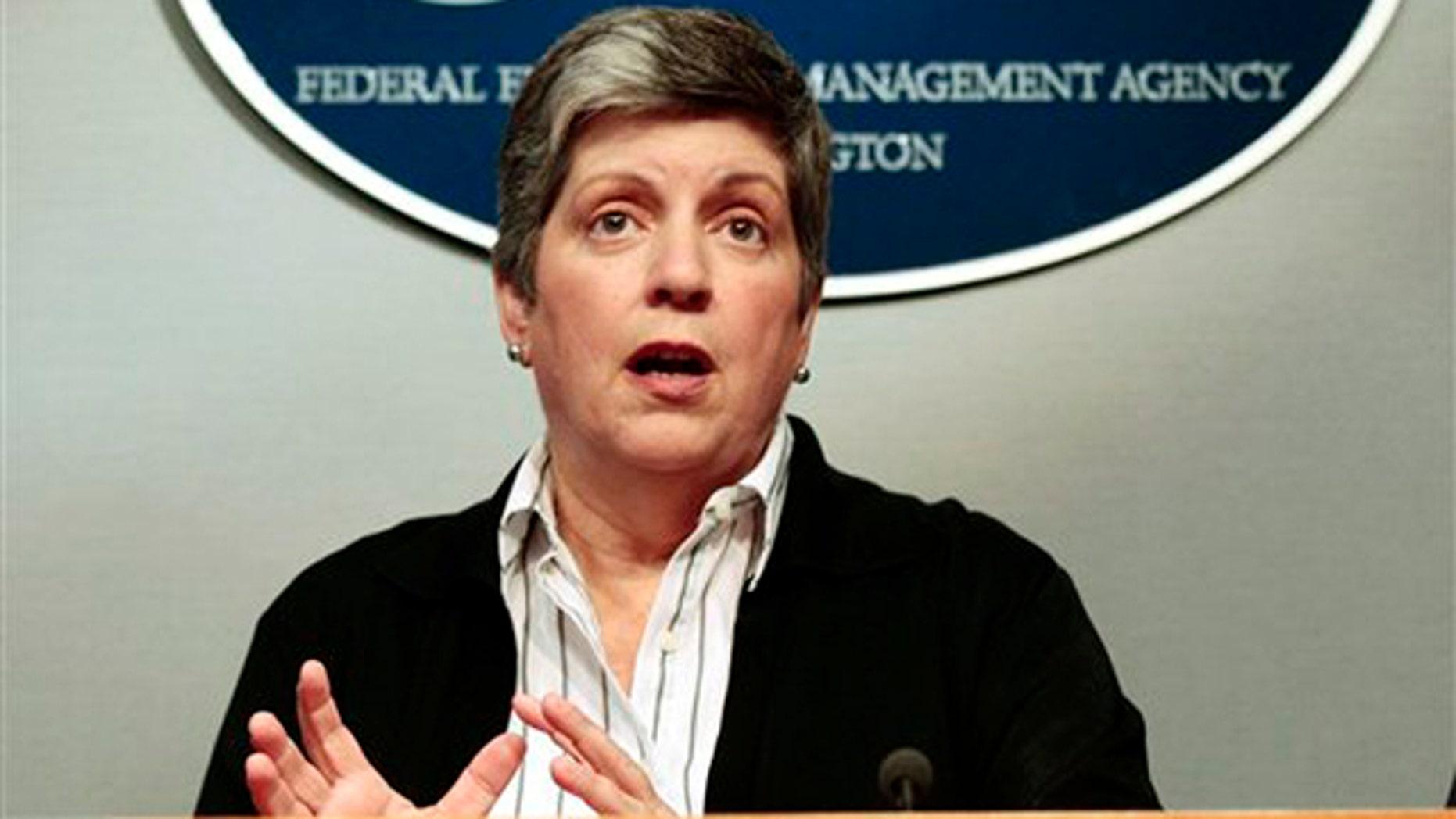 Homeland Security Secretary Janet Napolitano speaks at FEMA headquarters in Washington Aug. 28.