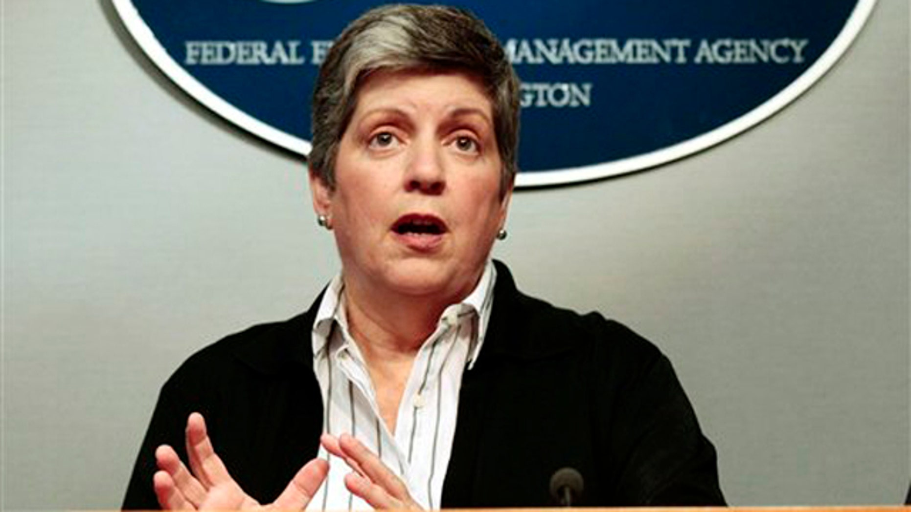 Homeland Security Secretary Janet Napolitano speaks at FEMA headquarters in Washington Aug. 28.