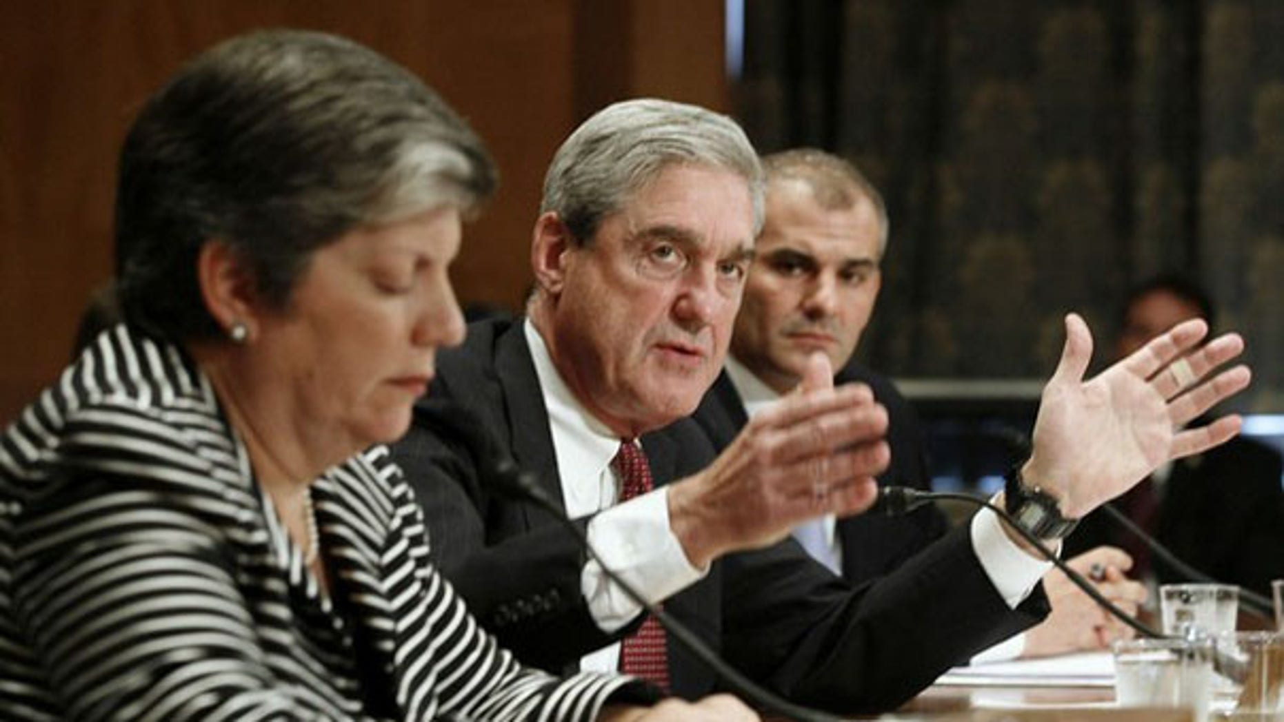 FBI Director Robert Mueller testifies alongside Homeland Security Secretary Janet Napolitano on Capitol Hill in Washington Sept. 30. (Reuters Photo)